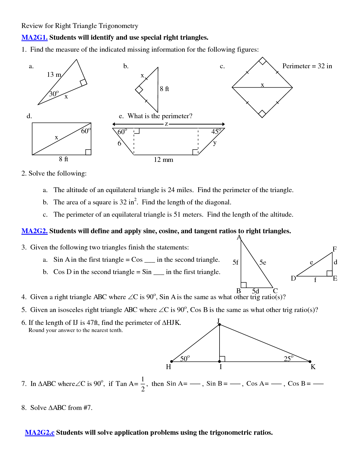 Trigonometry Problems Worksheet