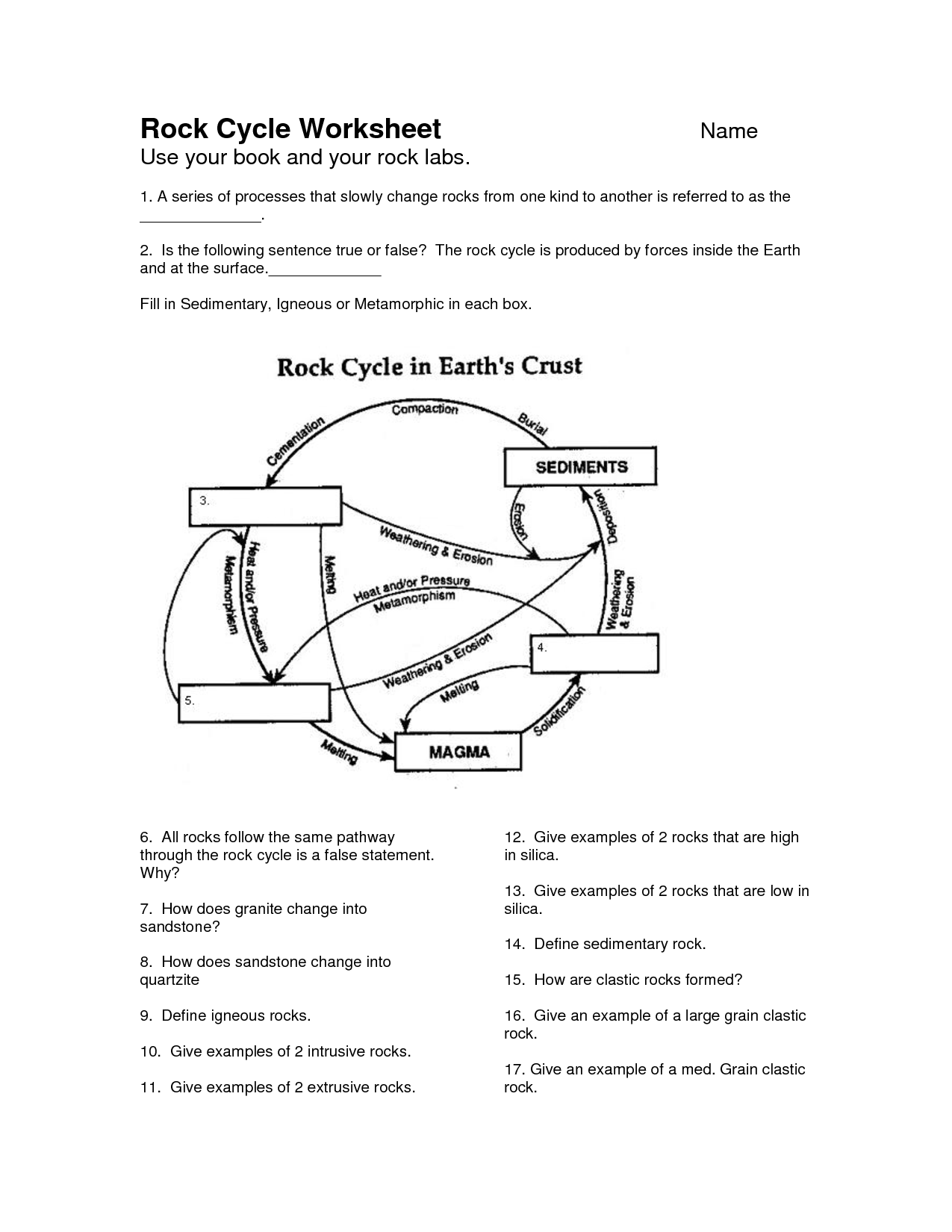9 Best Images Of Printable Rock Cycle Worksheets