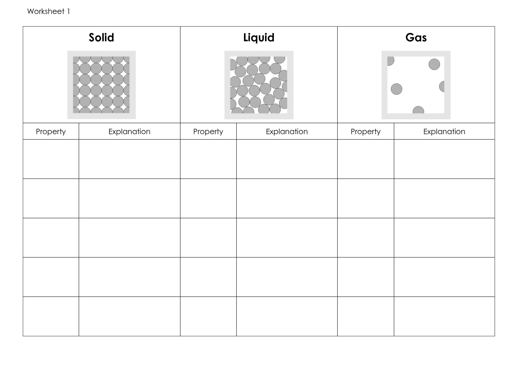 6 Best Images Of Solids Liquids And Gases Worksheet Kindergarten
