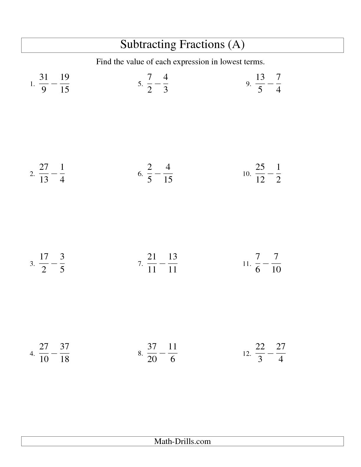 11 Best Images Of Subtracting Mixed Numbers Worksheets