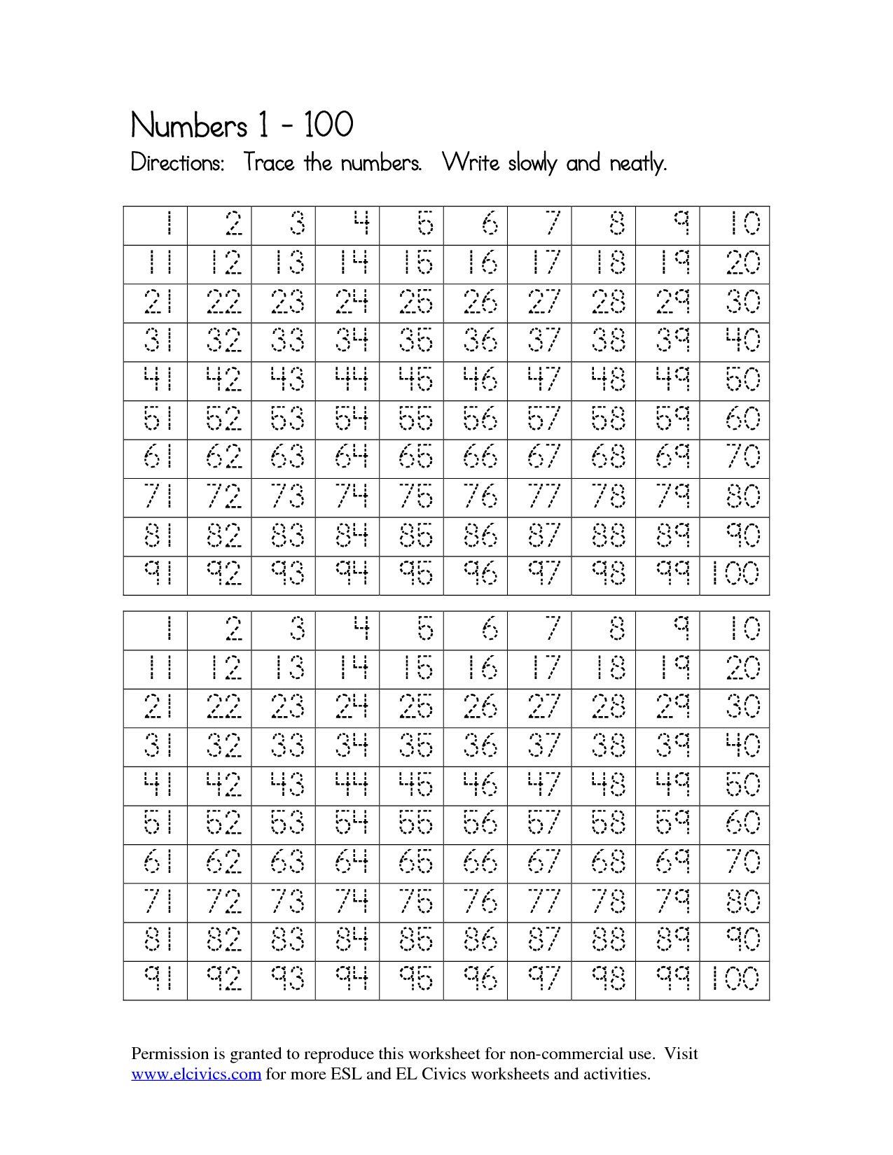 12 Best Images Of Practice Writing Numbers 1 To 100 Worksheet
