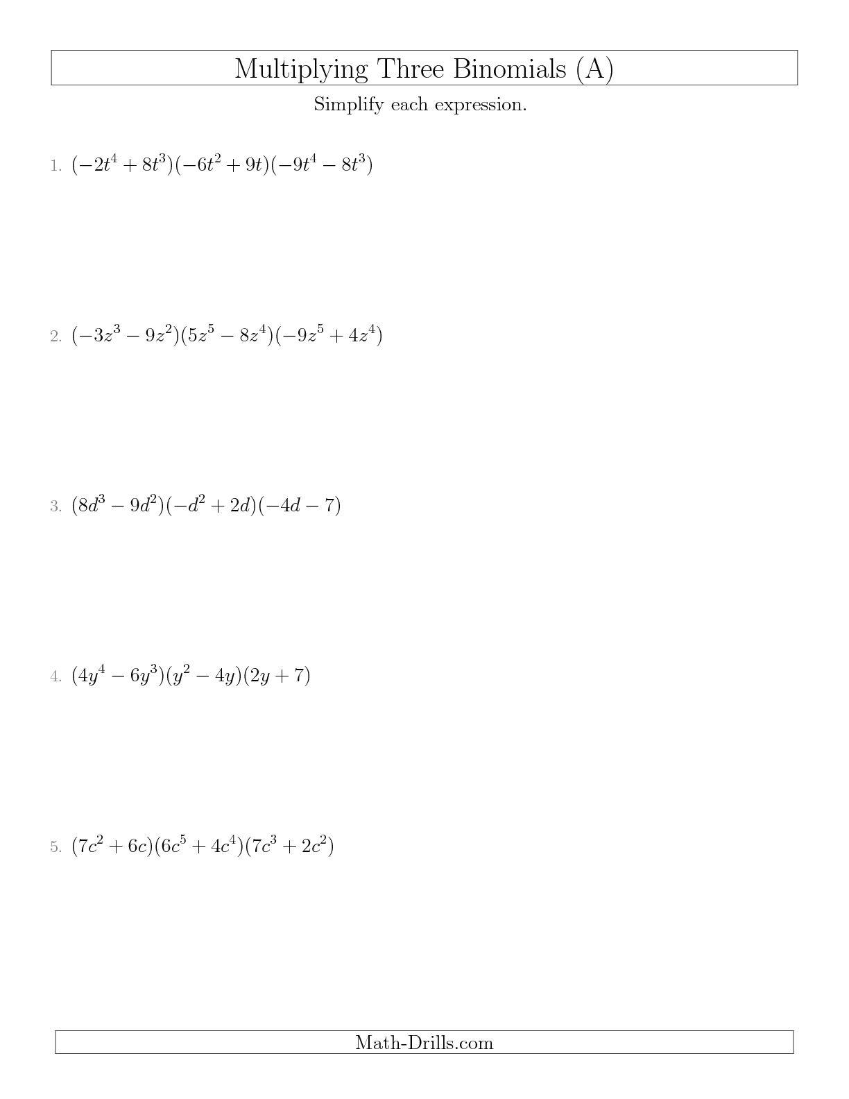 Worksheet For Factoring Binomials