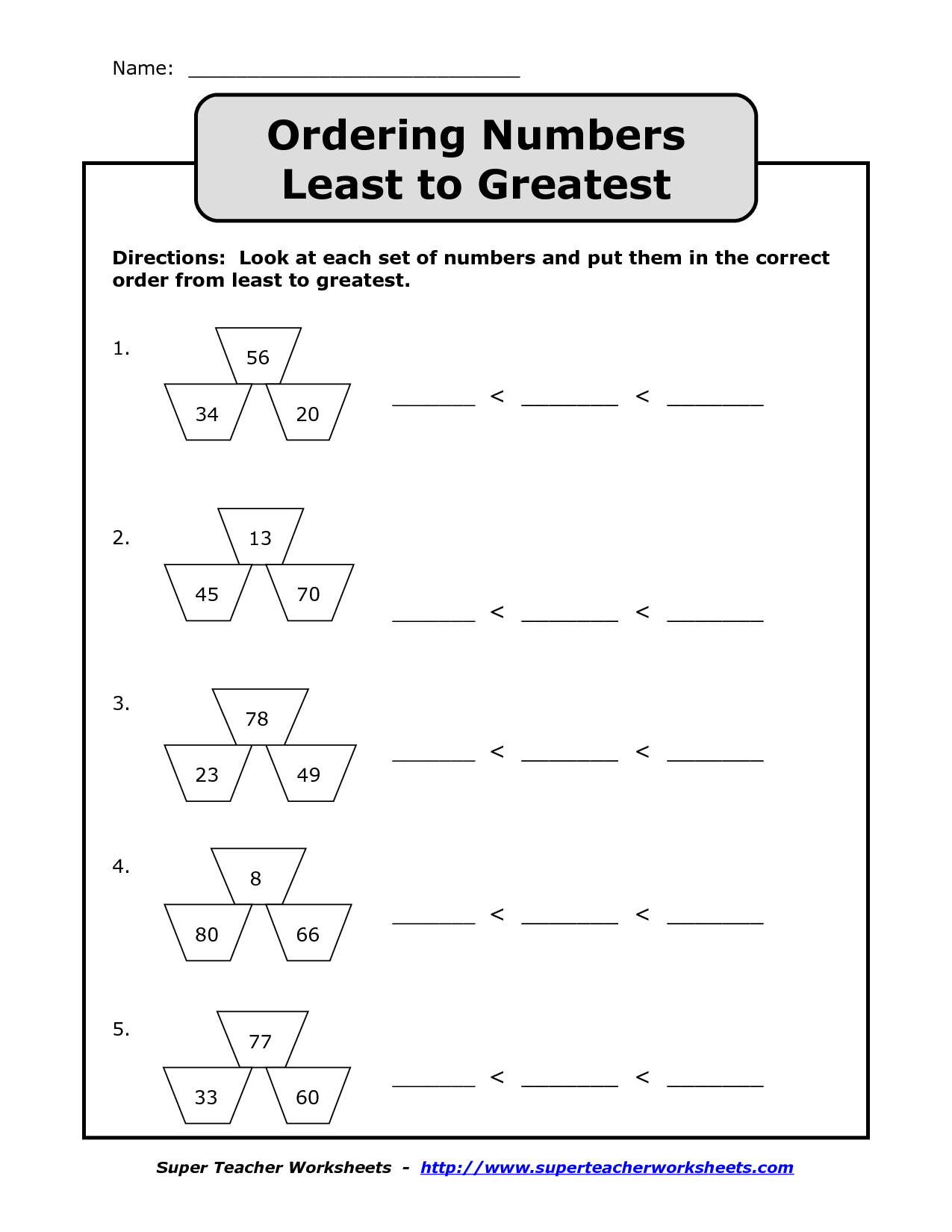 6 Best Images Of Number Order Least To Greatest Worksheets