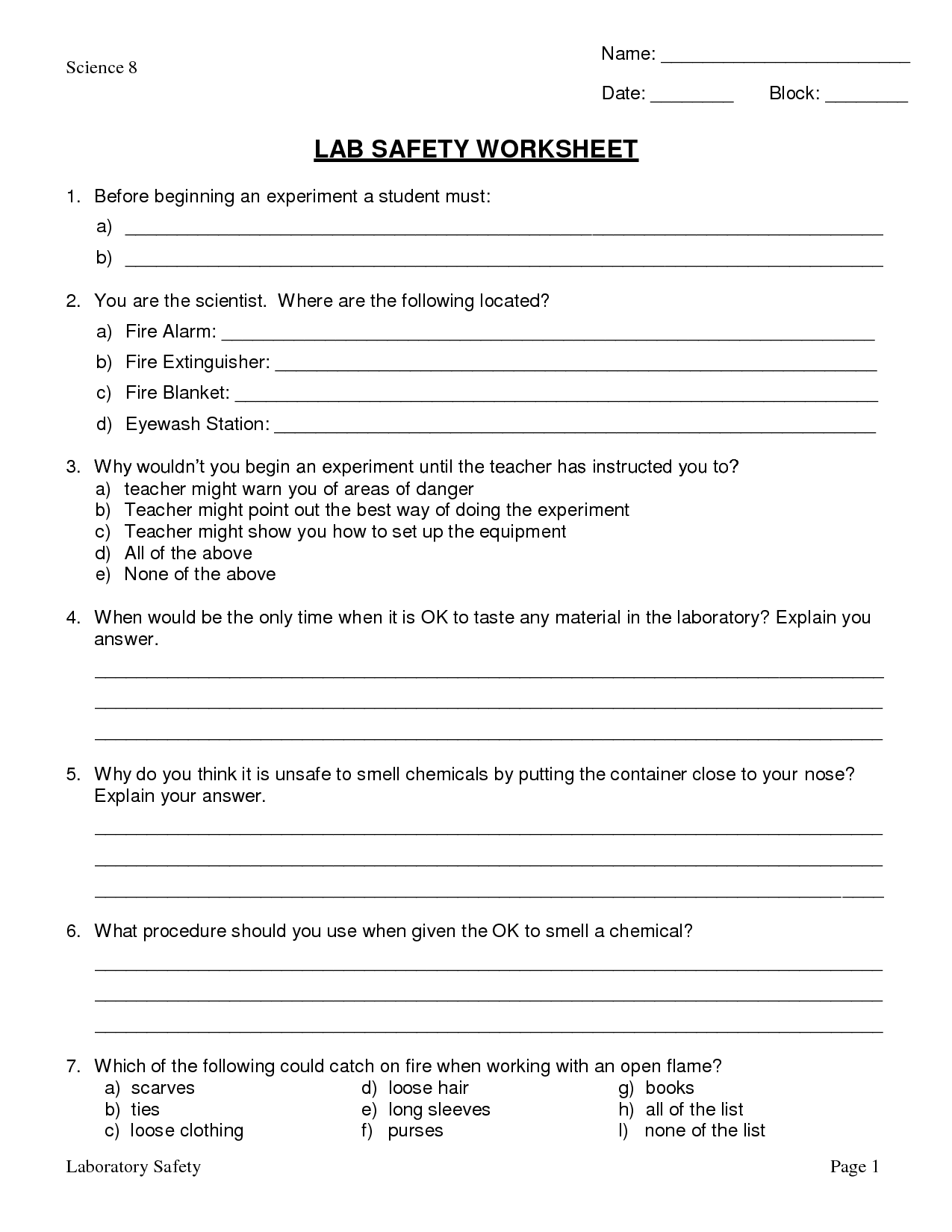 Science Fire Safety Worksheet