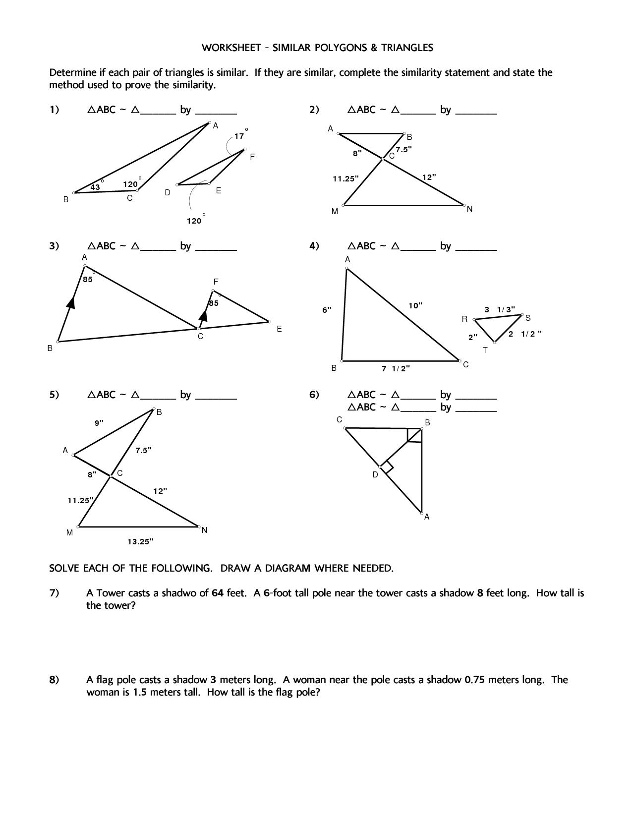 Similarity Ratios Worksheet