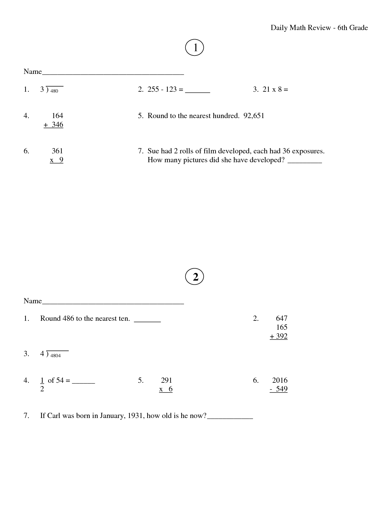 17 Best Images Of 6th Grade Math Review Worksheets