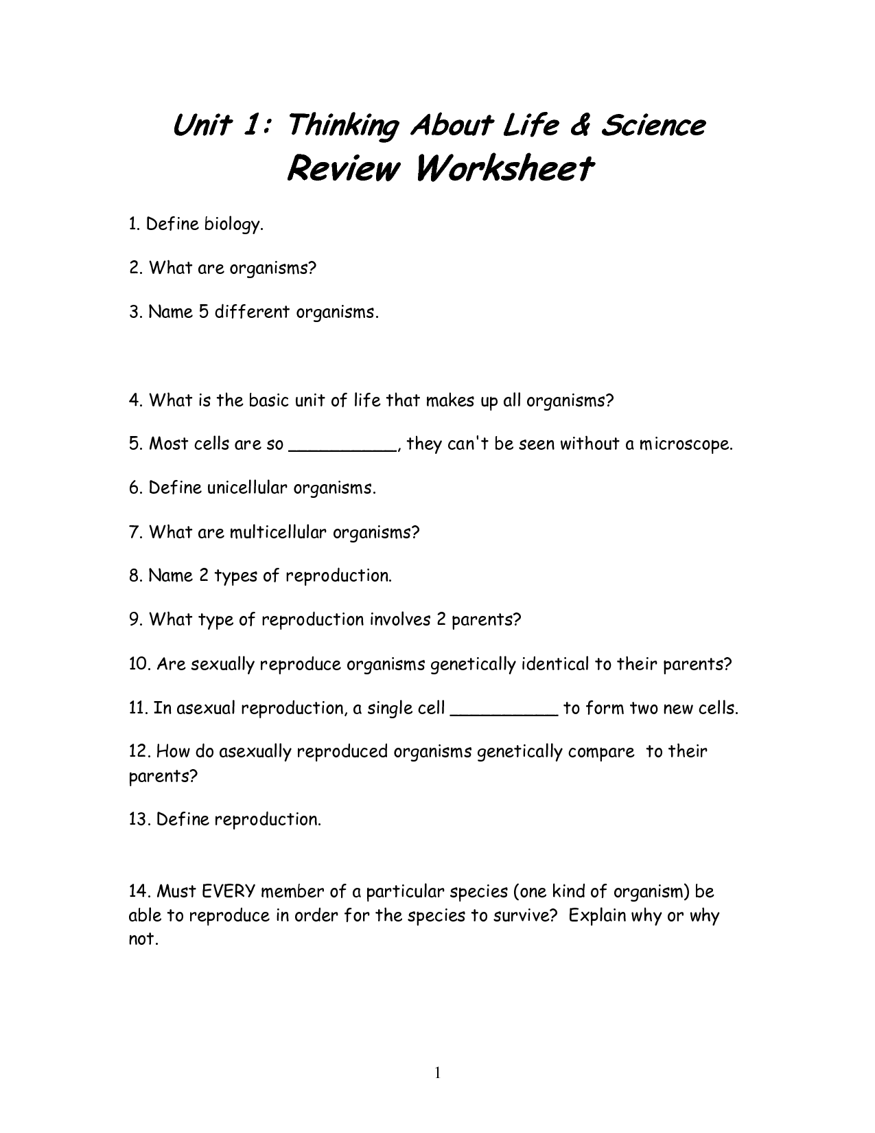 7th Grade Science Worksheets Free