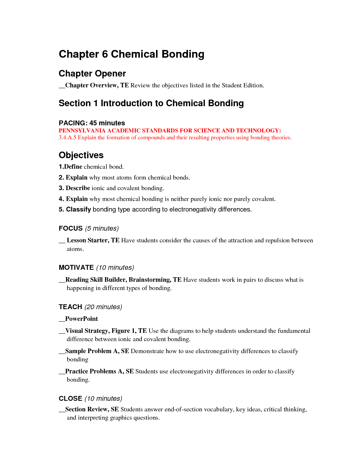 31 Chapter 6 Chemical Bonding Worksheet Answers