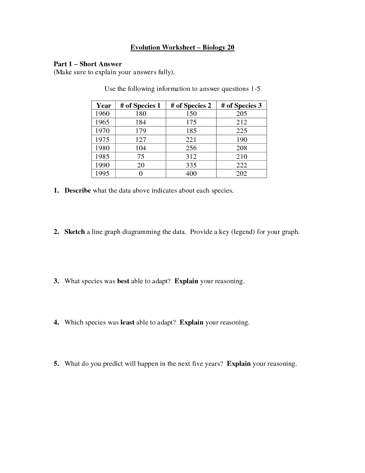 12 Best Images Of Evolution Worksheet With Answer Key