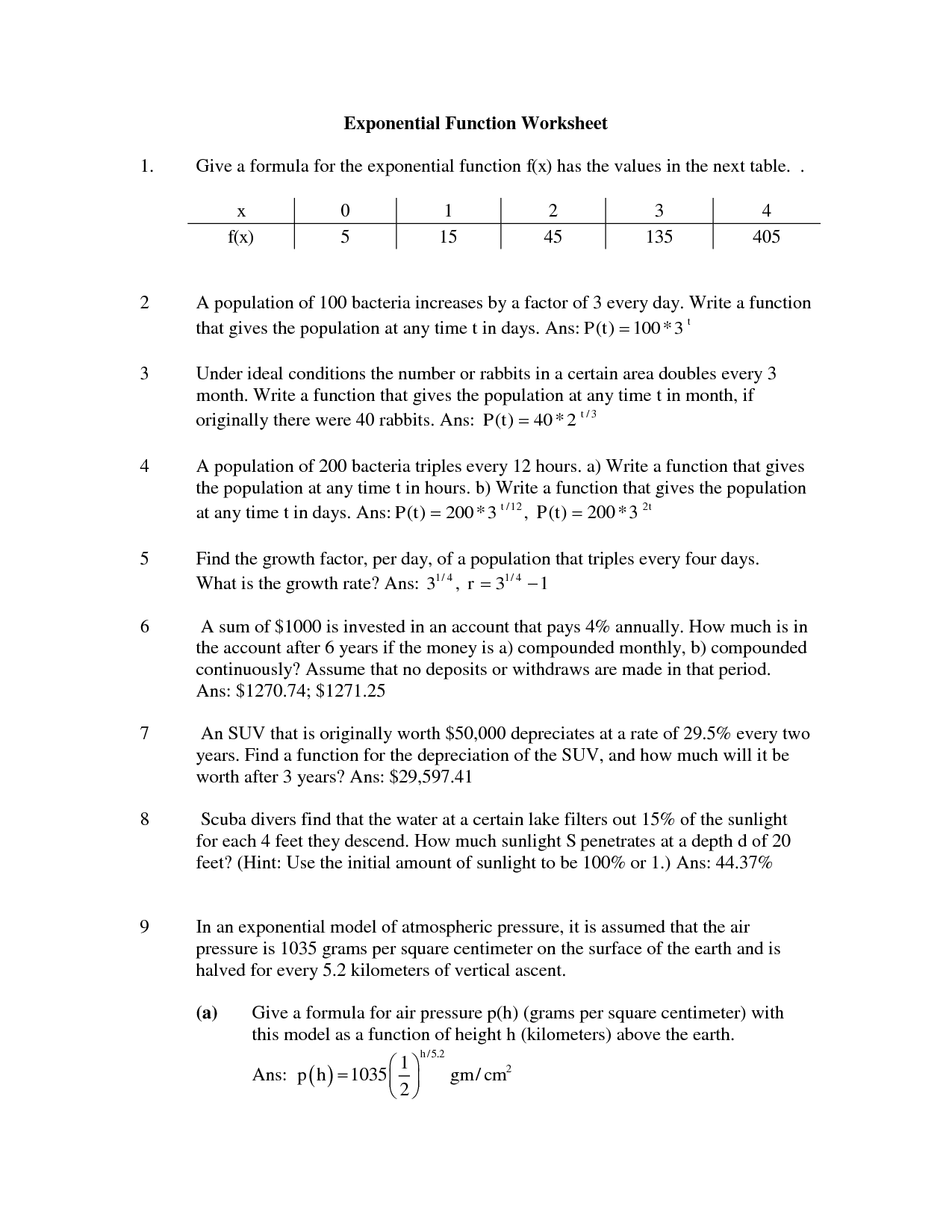 Function Problems Worksheet