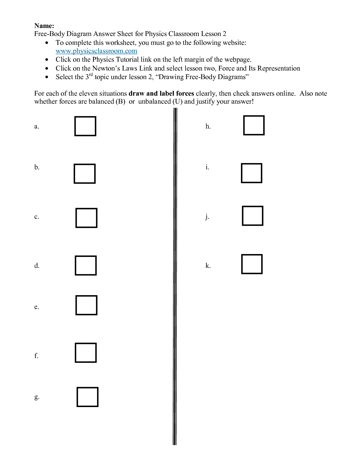 9 Best Images Of Balanced And Unbalanced Forces Worksheet