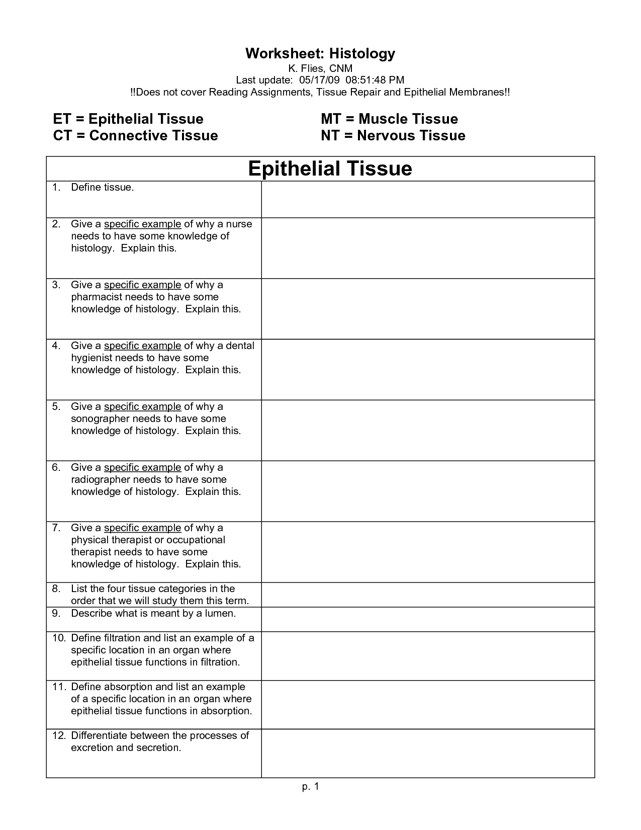 Nervous System Color Worksheet
