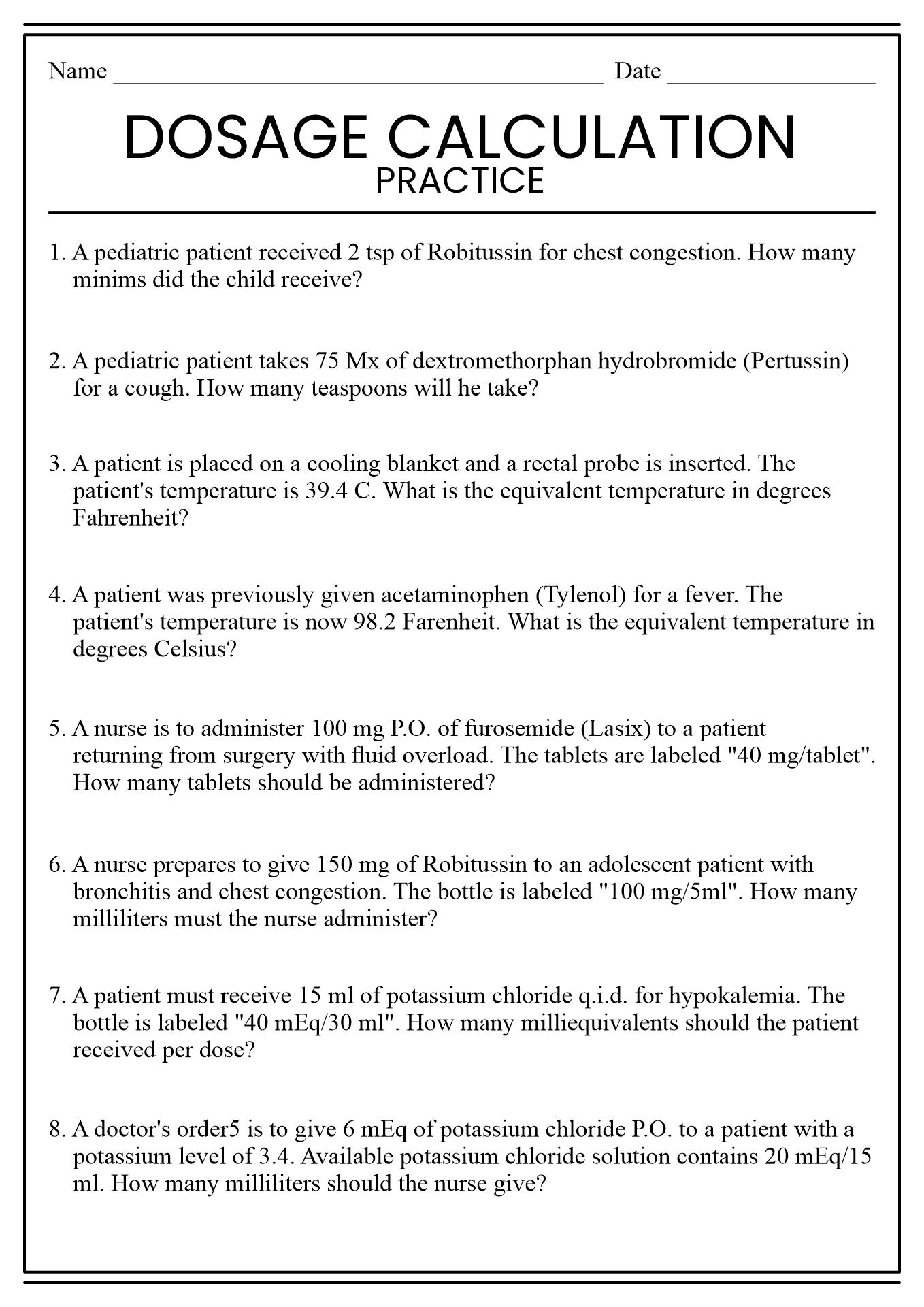 Medical Math Worksheets