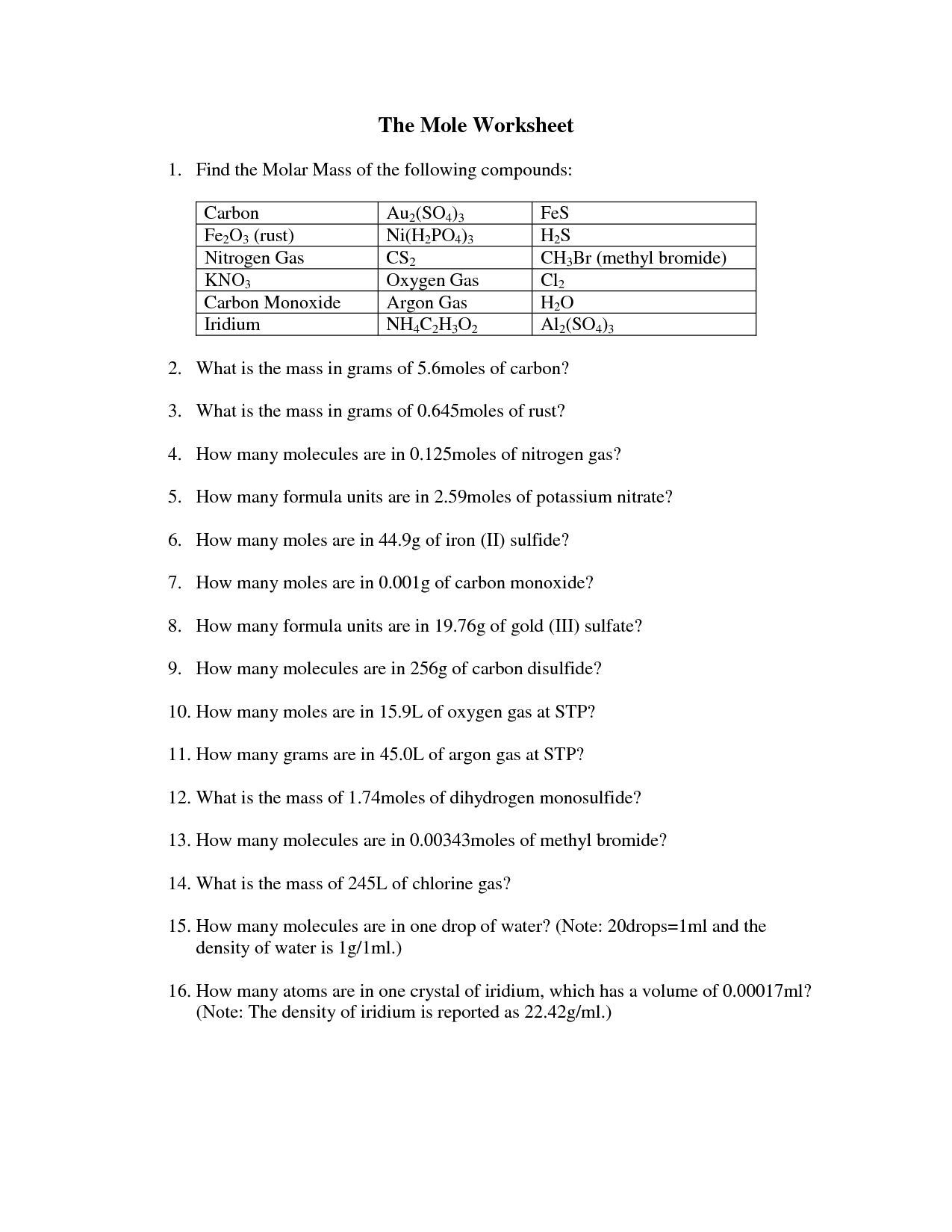 18 Best Images Of Moles Worksheet With Answers