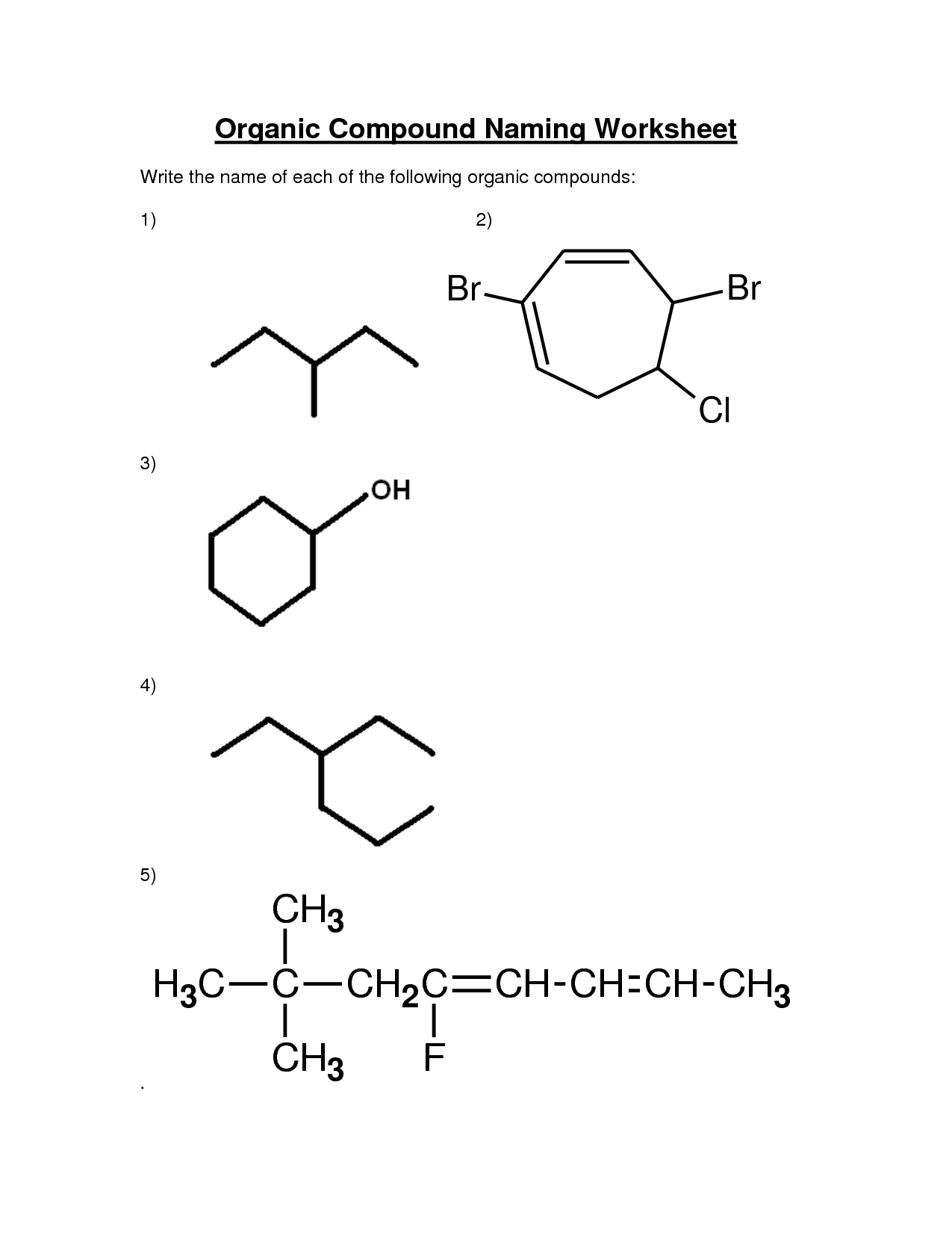12 Best Images Of Organic Chemistry Naming Worksheet