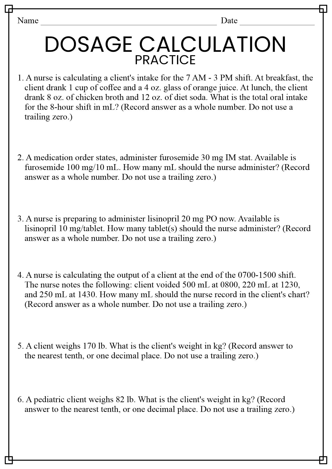 Nursing Math Worksheet Free