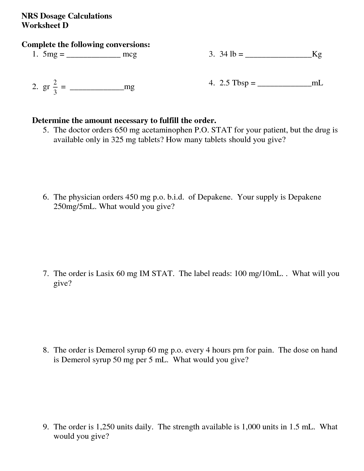 Pharmacy Math Worksheet