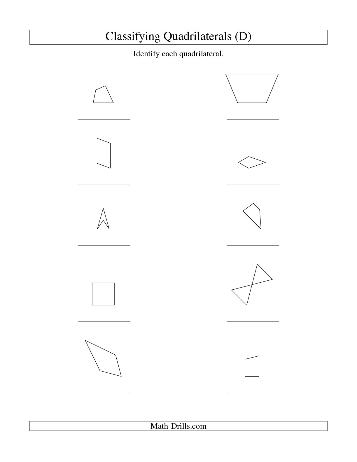 Diagonals Of Quadrilaterals Worksheet