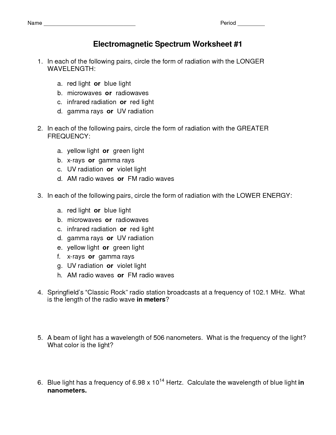 16 Best Images Of Light And Waves Worksheet Answer Key