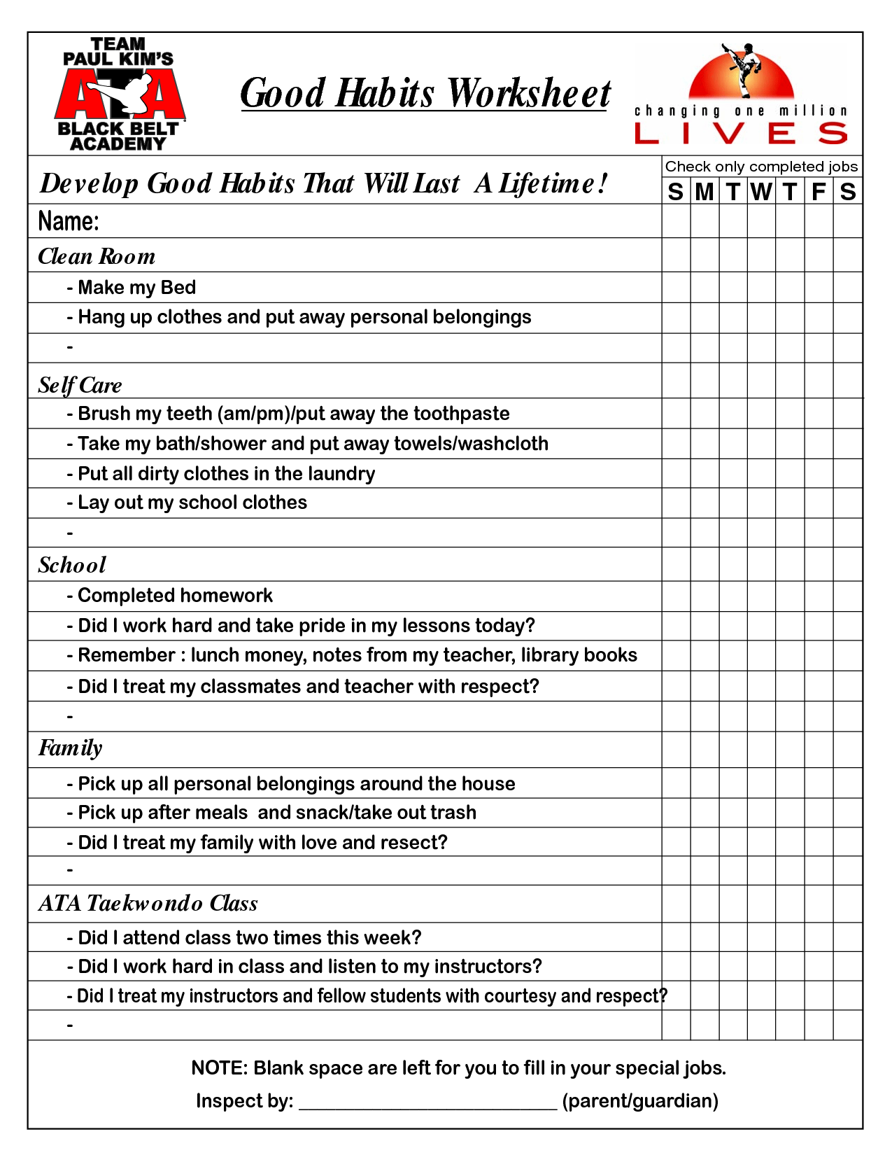 Lesson Healthy Habits Worksheet