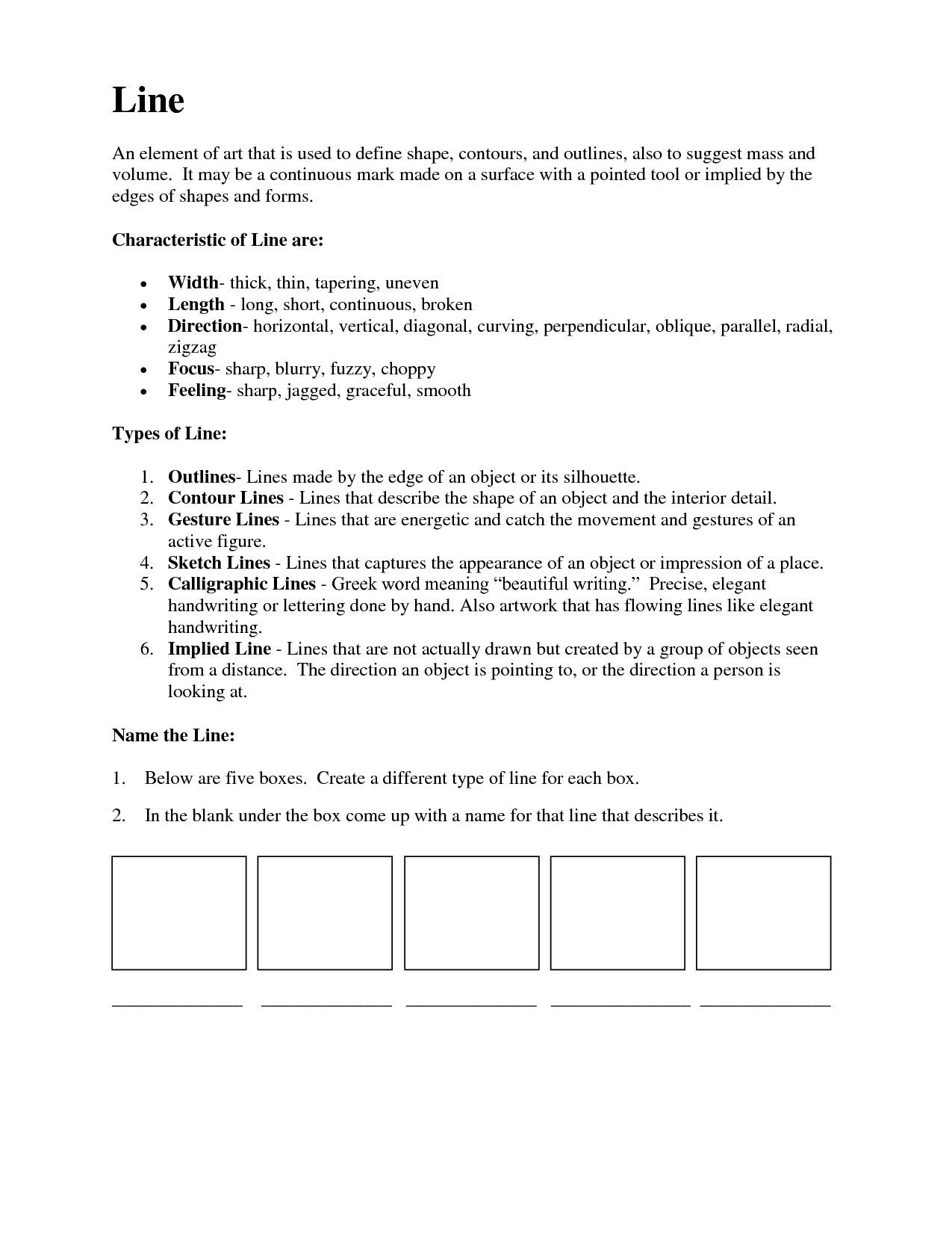 19 Best Images Of Elements Of Art Worksheets