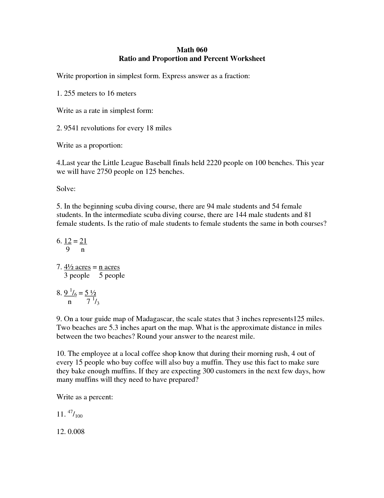9 Best Images Of Proportion Word Problems Worksheet