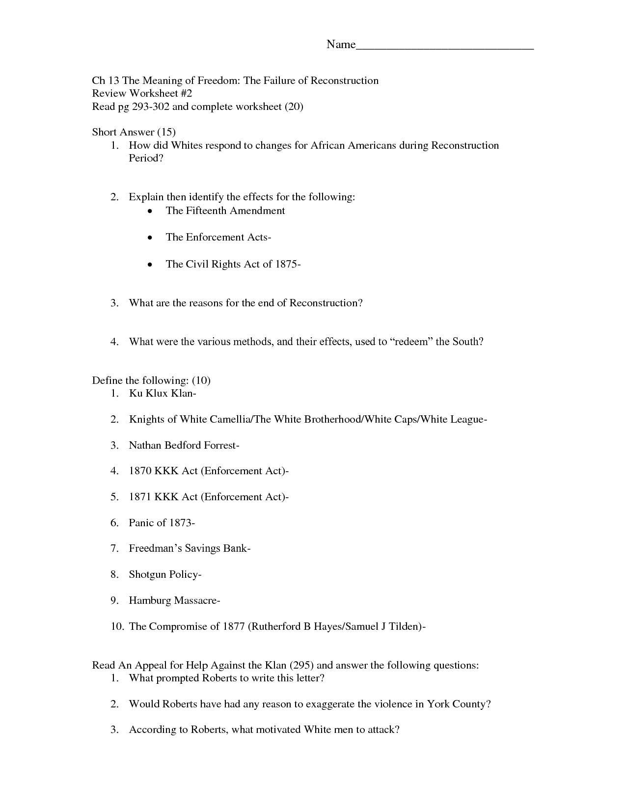 13 Best Images Of Reconstruction Amendments Worksheet