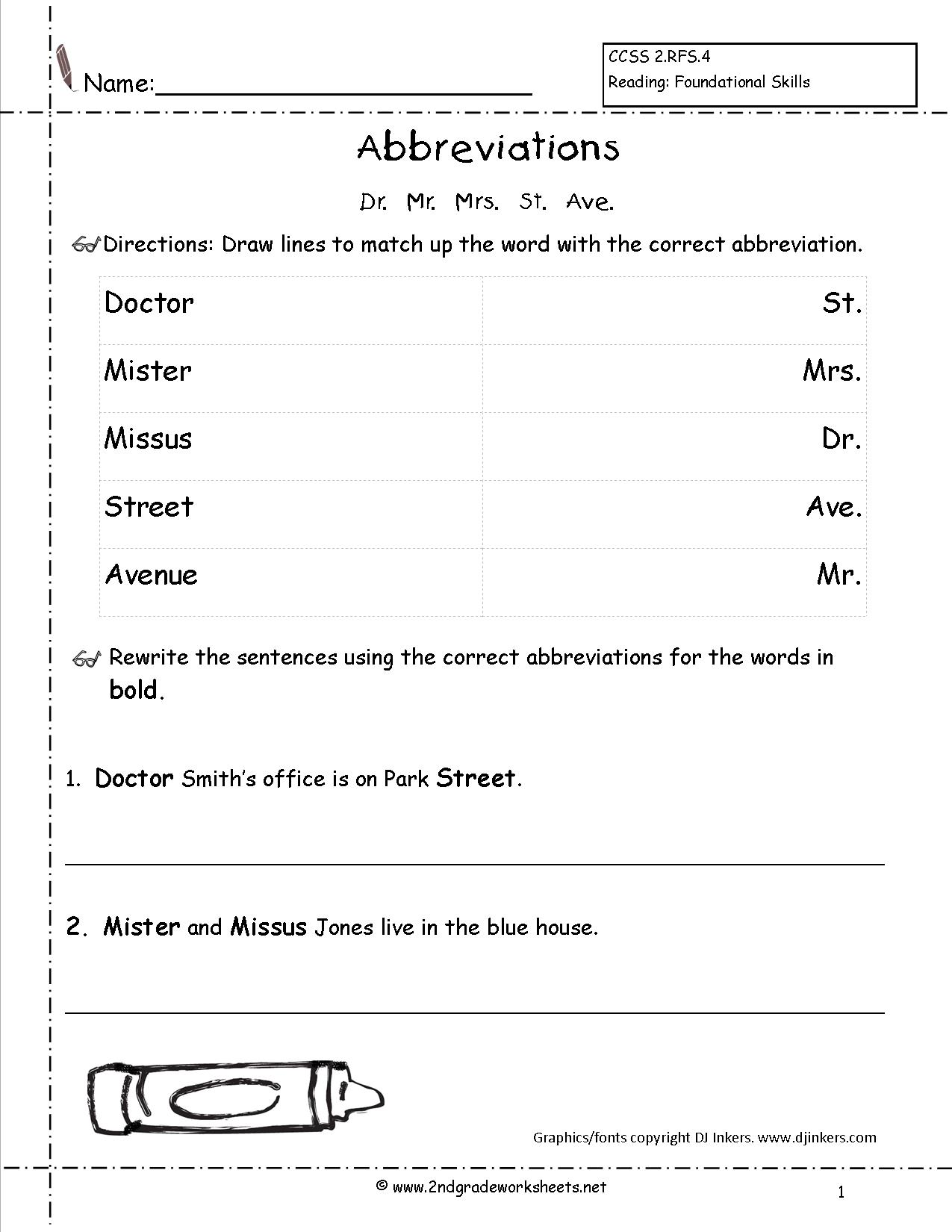 18 Best Images Of Abbreviation Worksheets For Students