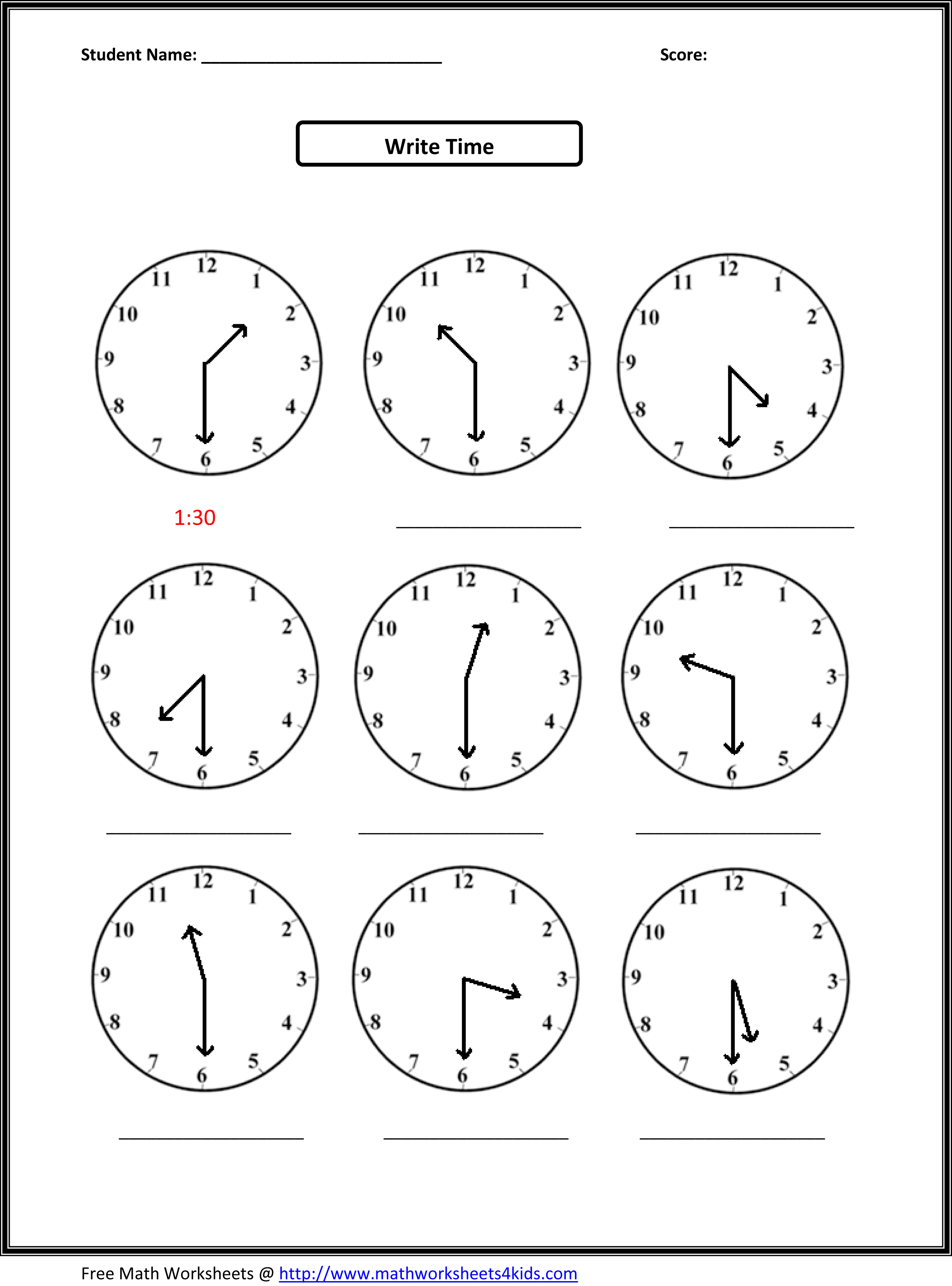 13 Best Images Of Math Worksheets Time Clock
