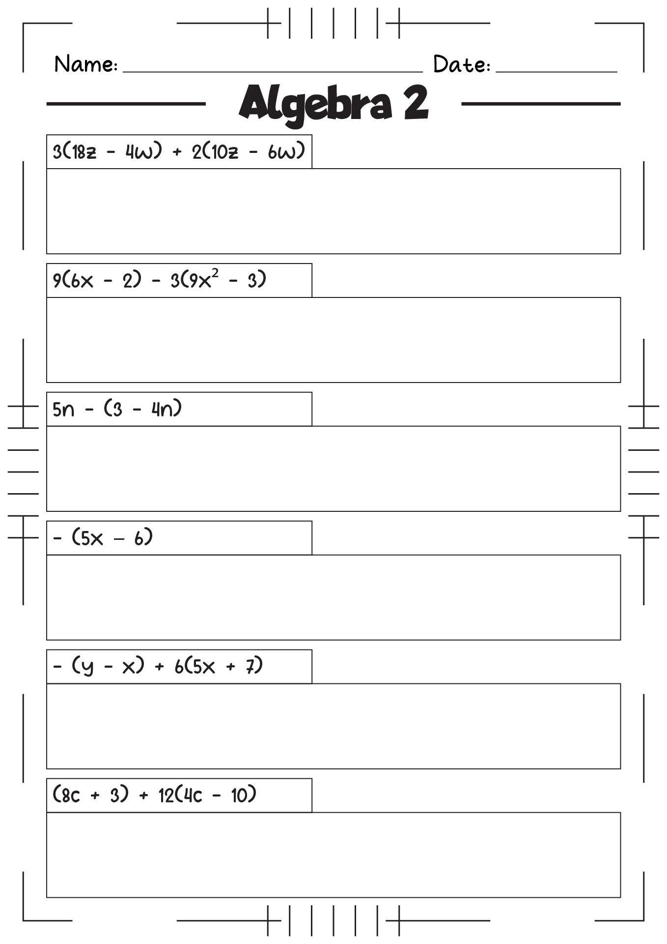 Algebra Worksheet Level 2