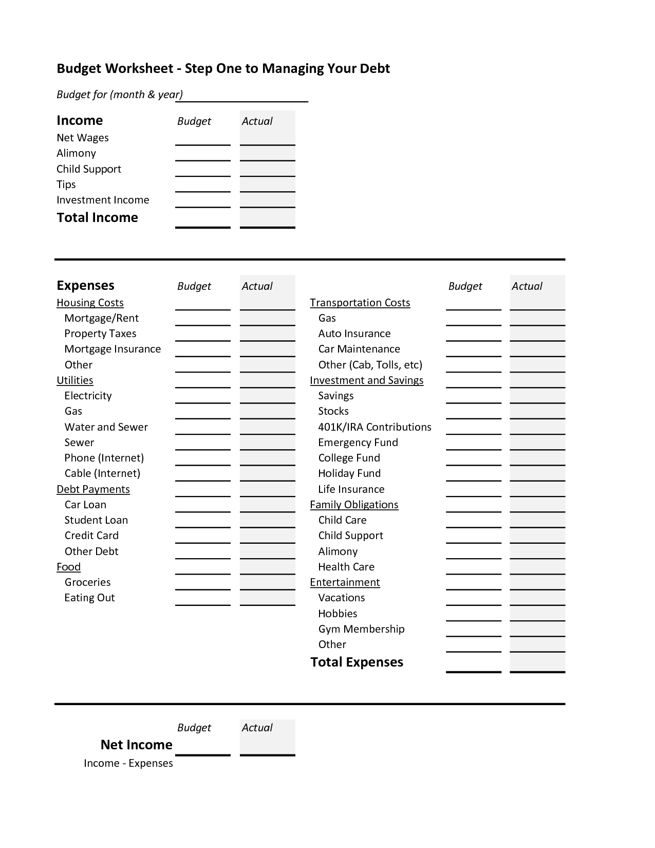 15 Best Images Of Sample Personal Budget Worksheet