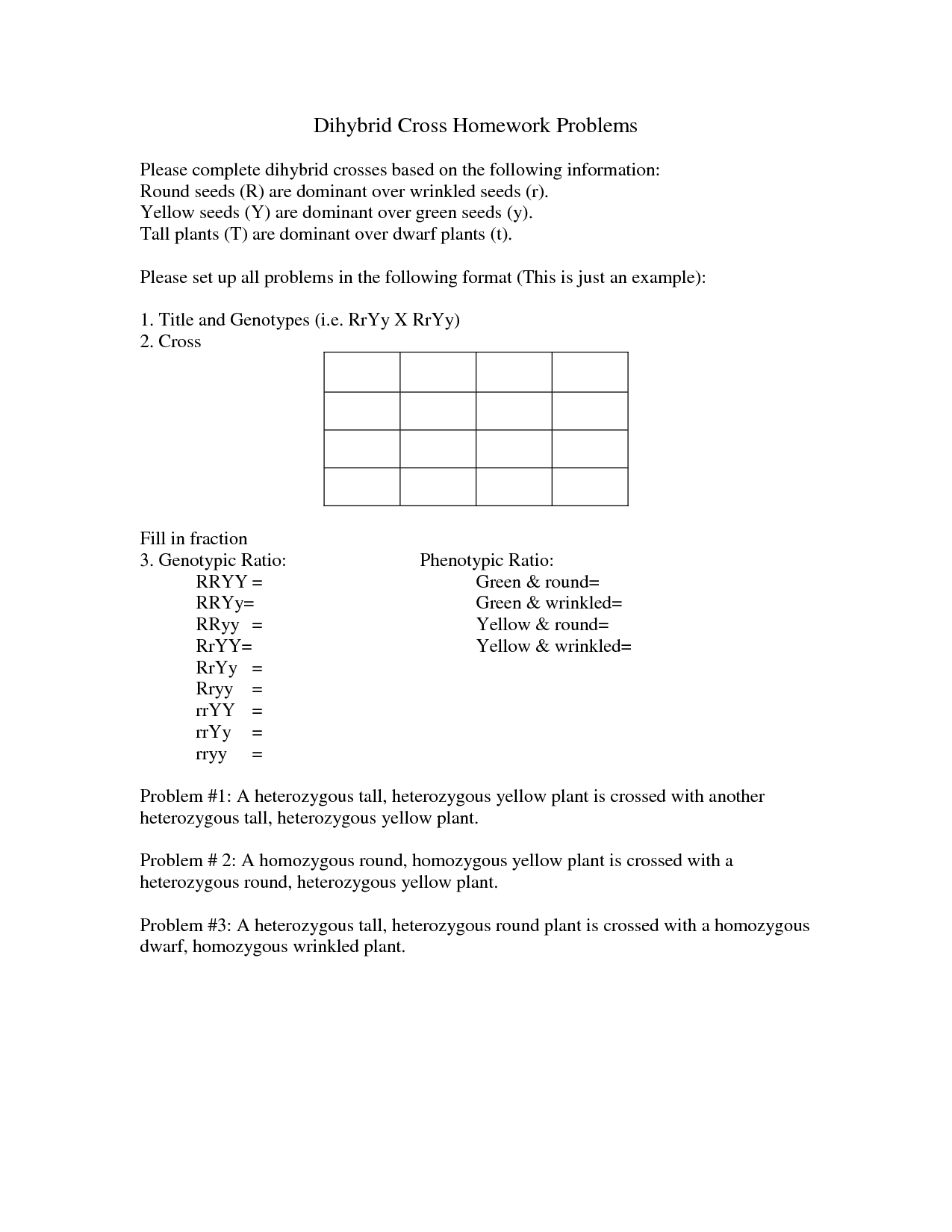 16 Best Images Of Dihybrid Cross Problems Worksheet