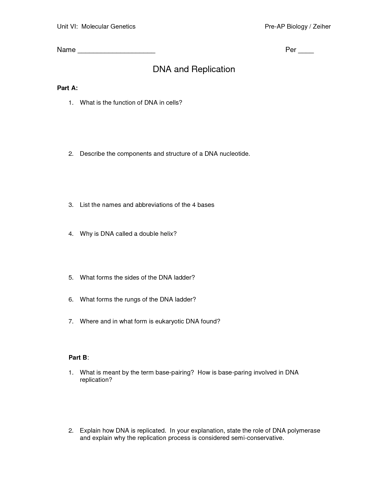 14 Best Images Of Dna Structure Worksheet High School