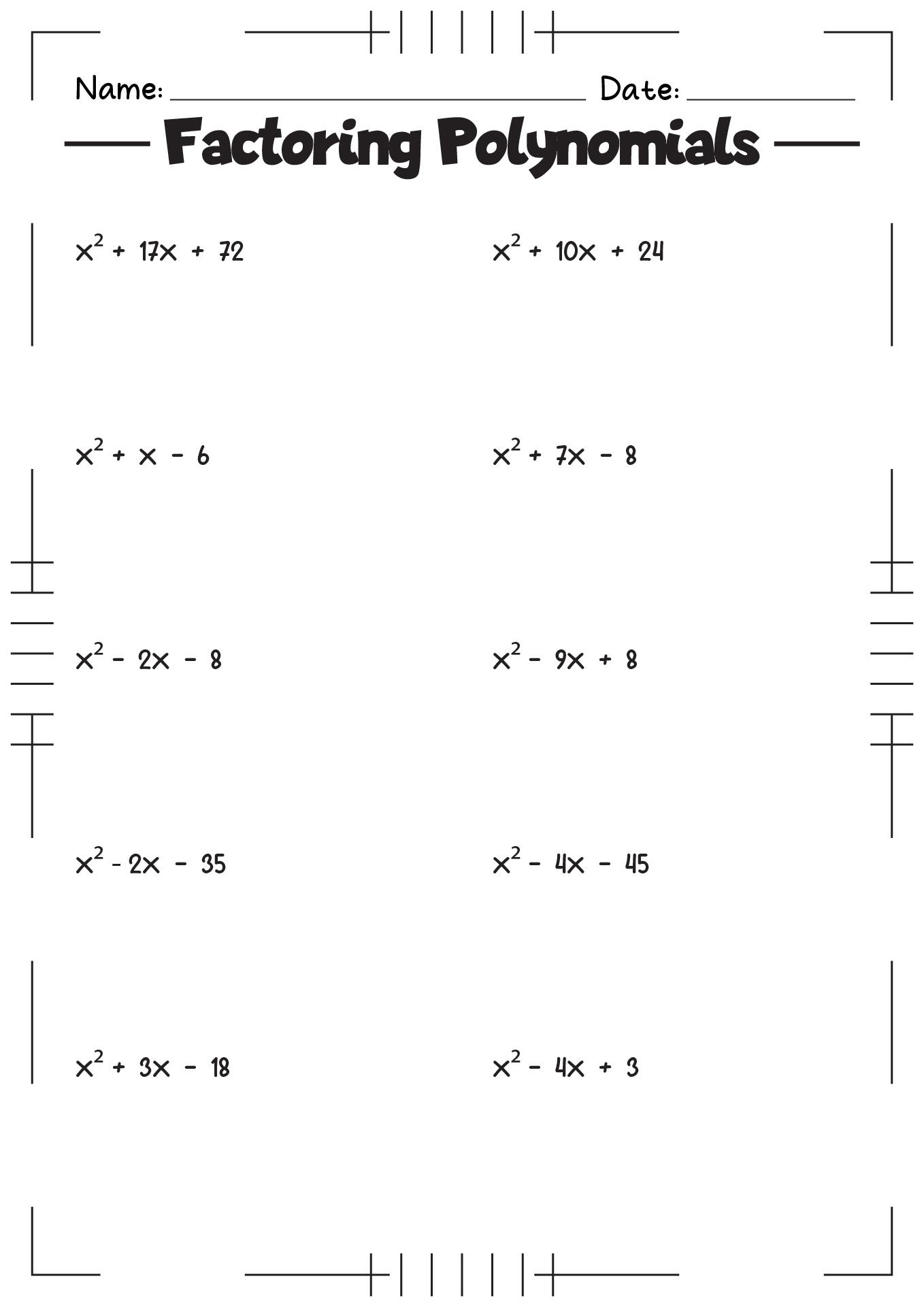 11 Best Images Of Factoring Worksheets Algebra Ii