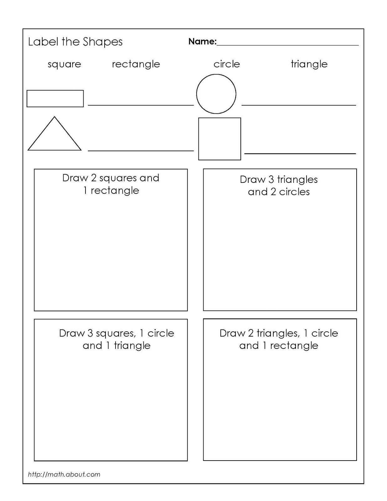 10 Best Images Of Printable Math Worksheets Shapes