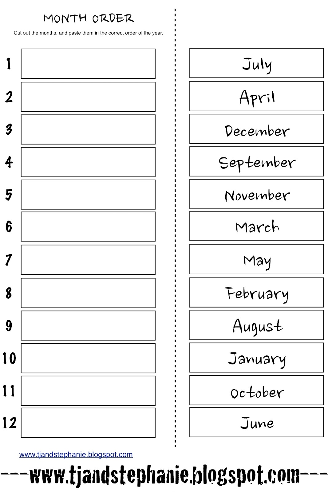 16 Best Images Of Months Worksheets For Kindergarten