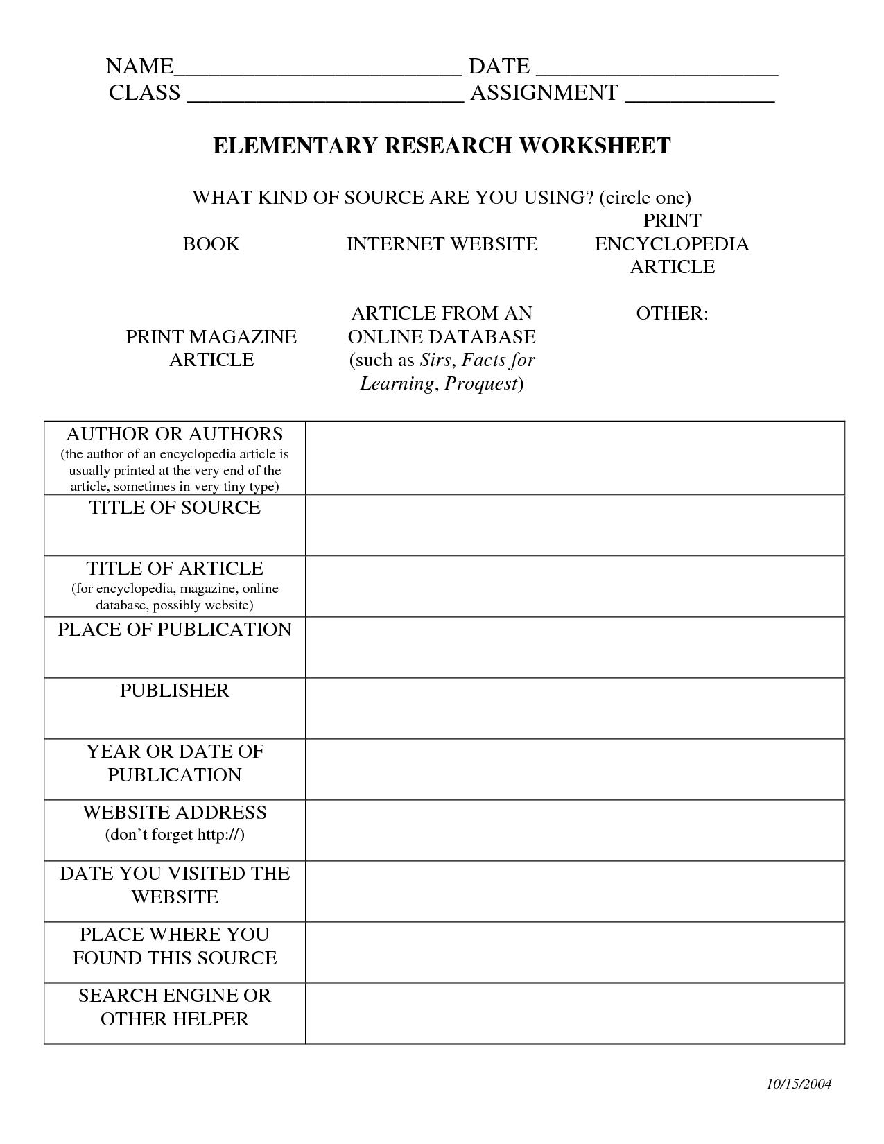 Elementary Hypothesis Worksheet