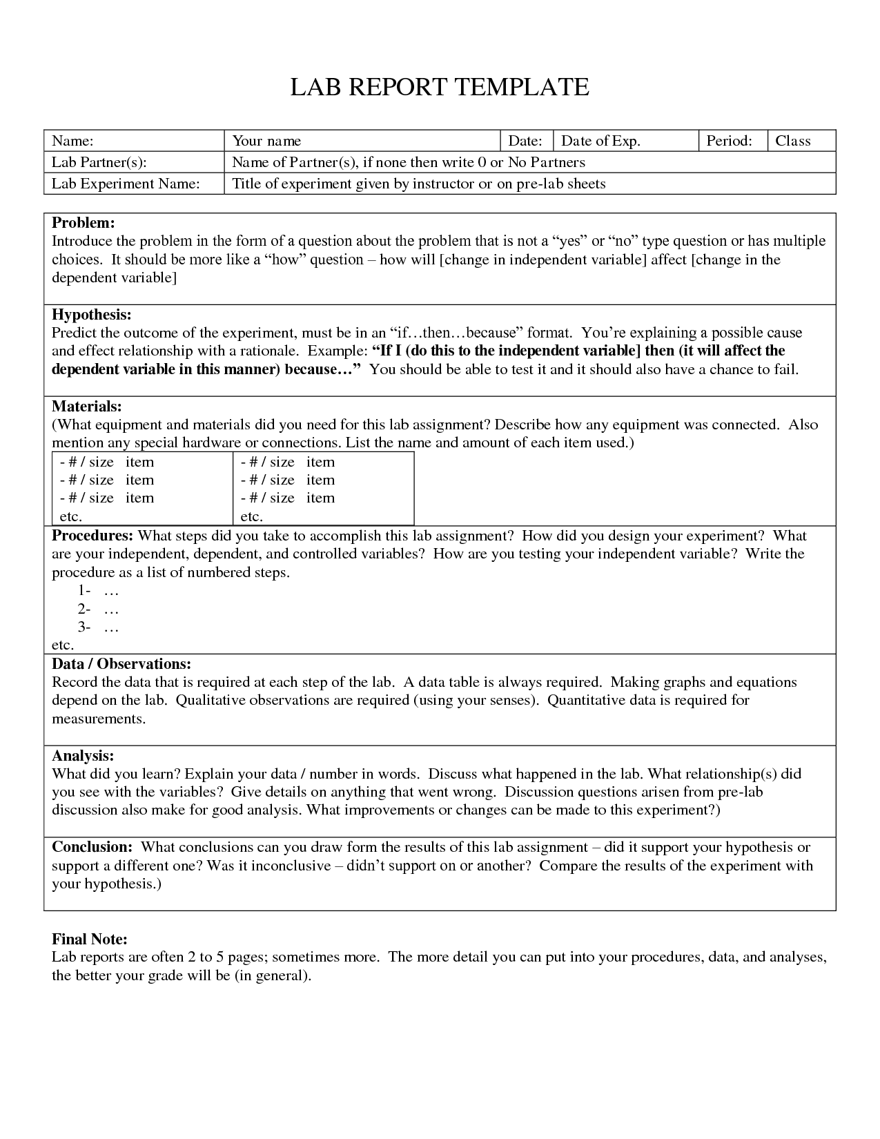 Science Report Examples