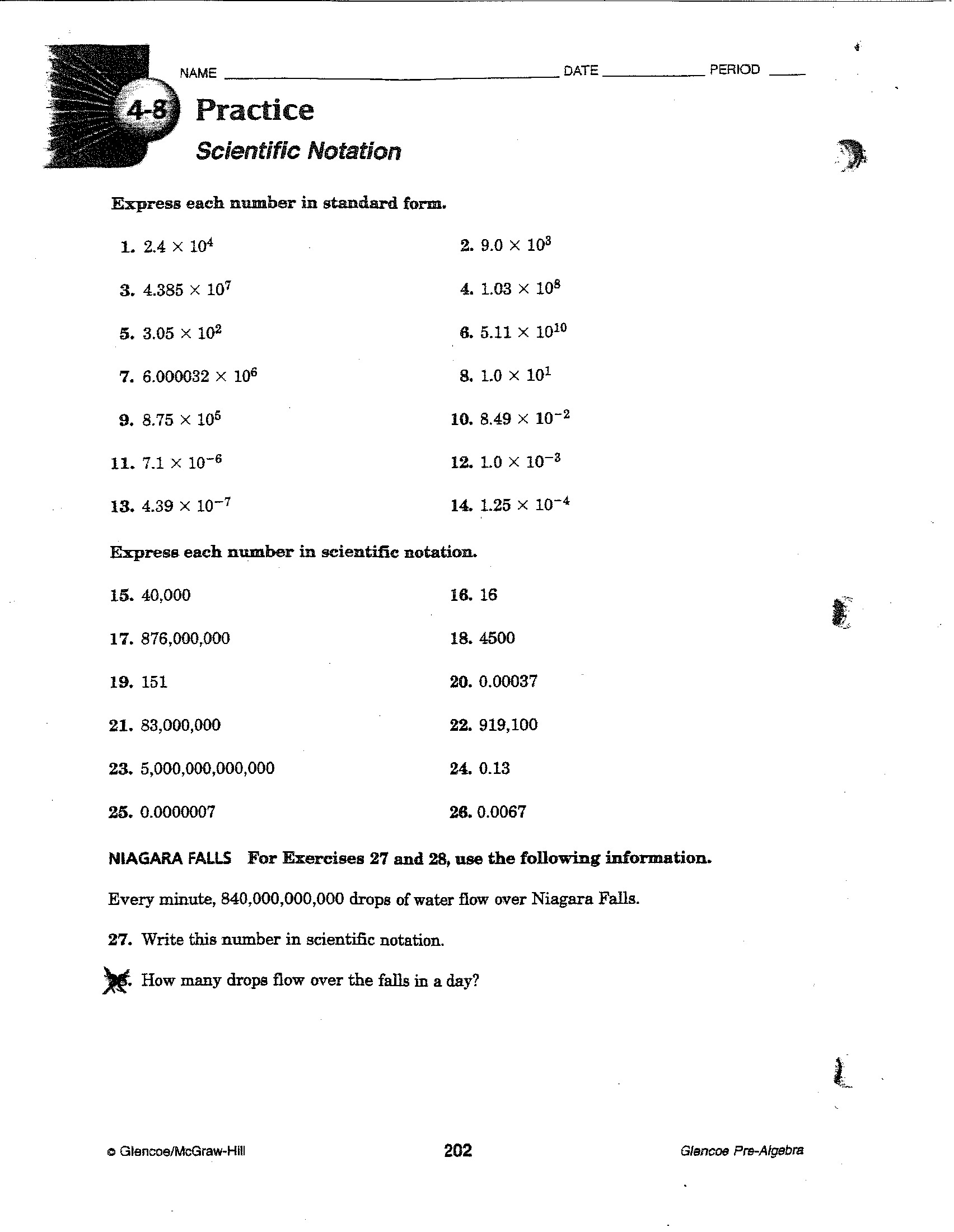 Scientific Notation Coloring Worksheet