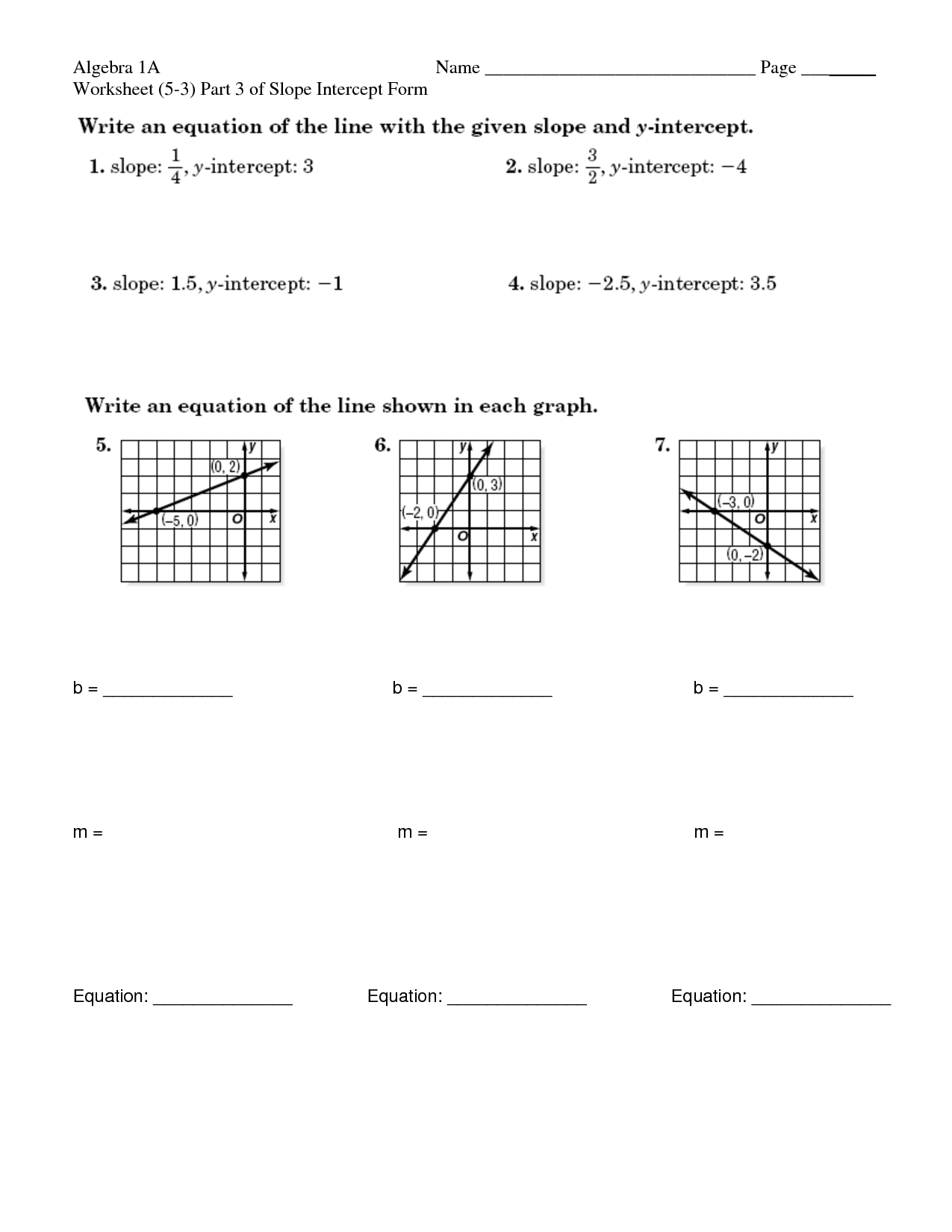 16 Best Images Of Slope Intercept Form Worksheets