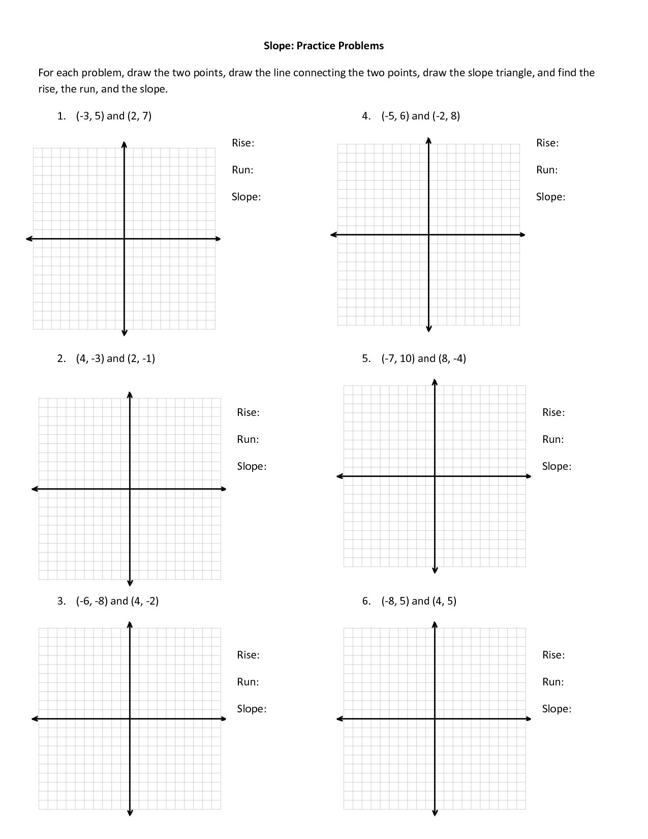 Find Slope And Y Intercept Worksheet Slope Worksheets