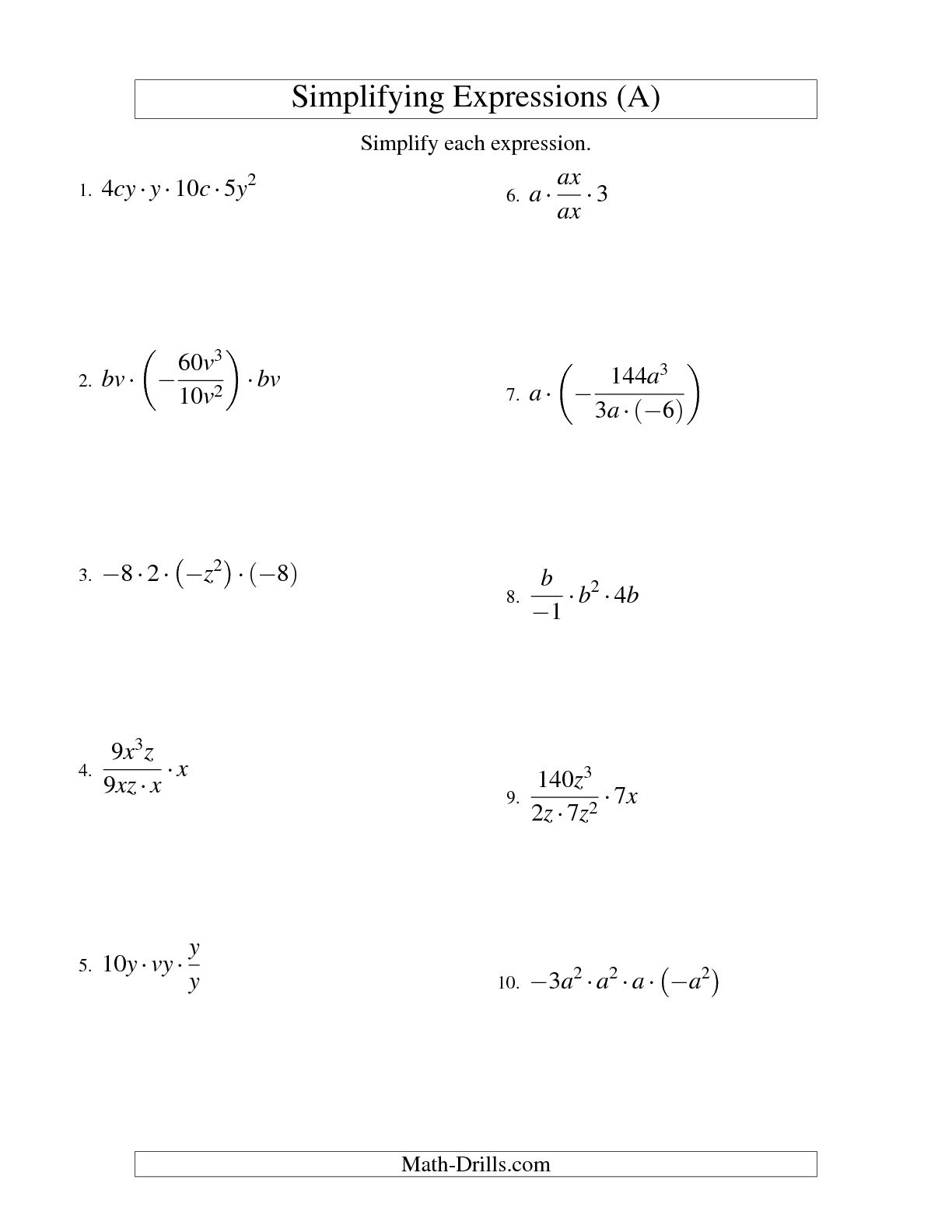 16 Best Images Of Multiplying Algebraic Terms Worksheet