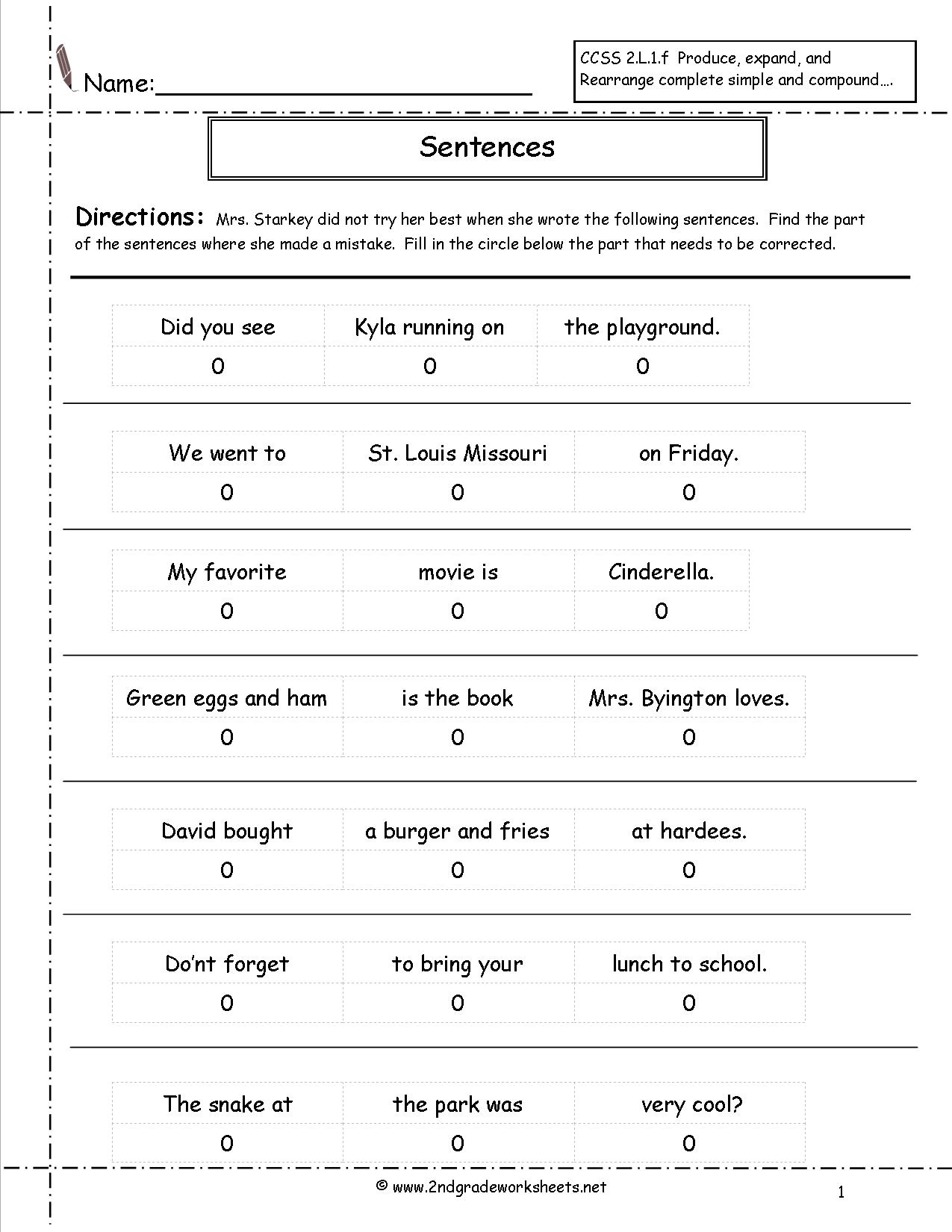 34 Complete Sentences Worksheet 1st Grade