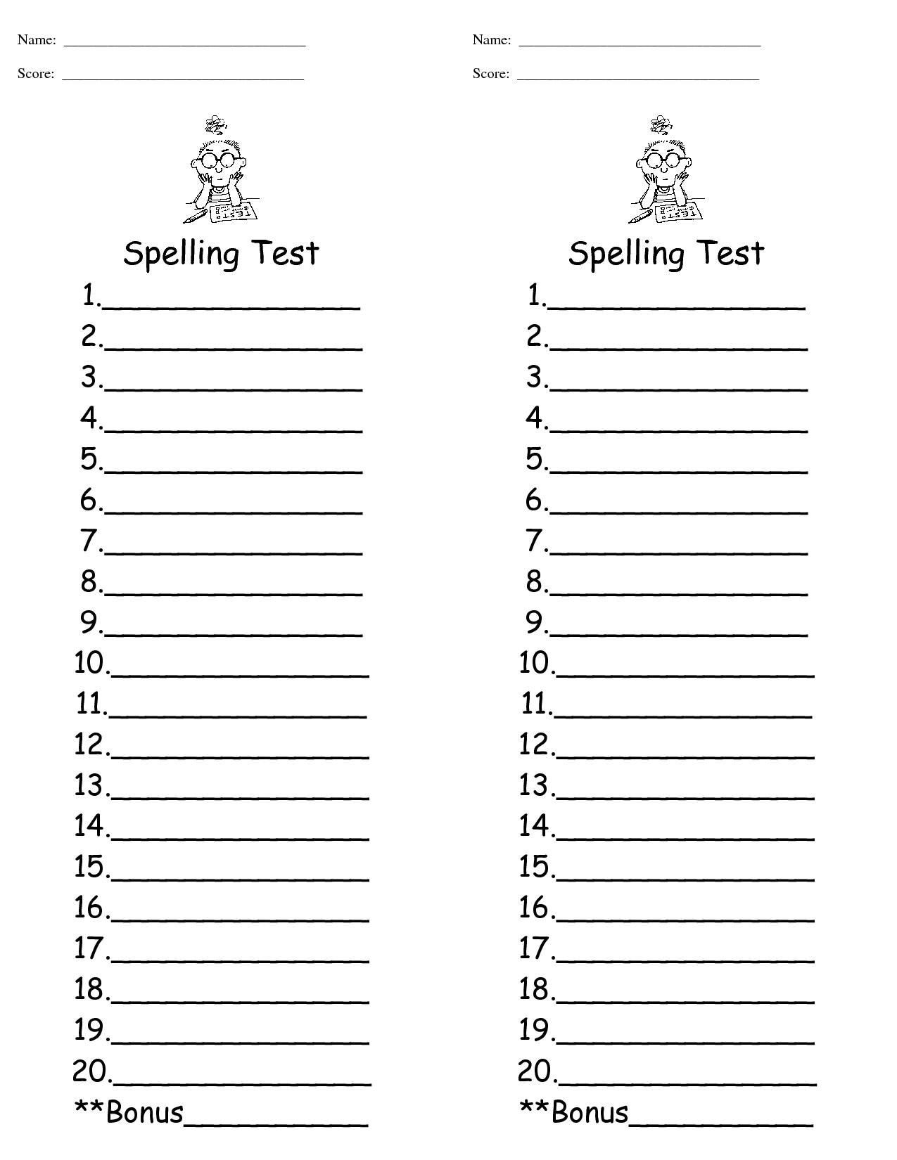 Free Spelling Spiral Worksheet