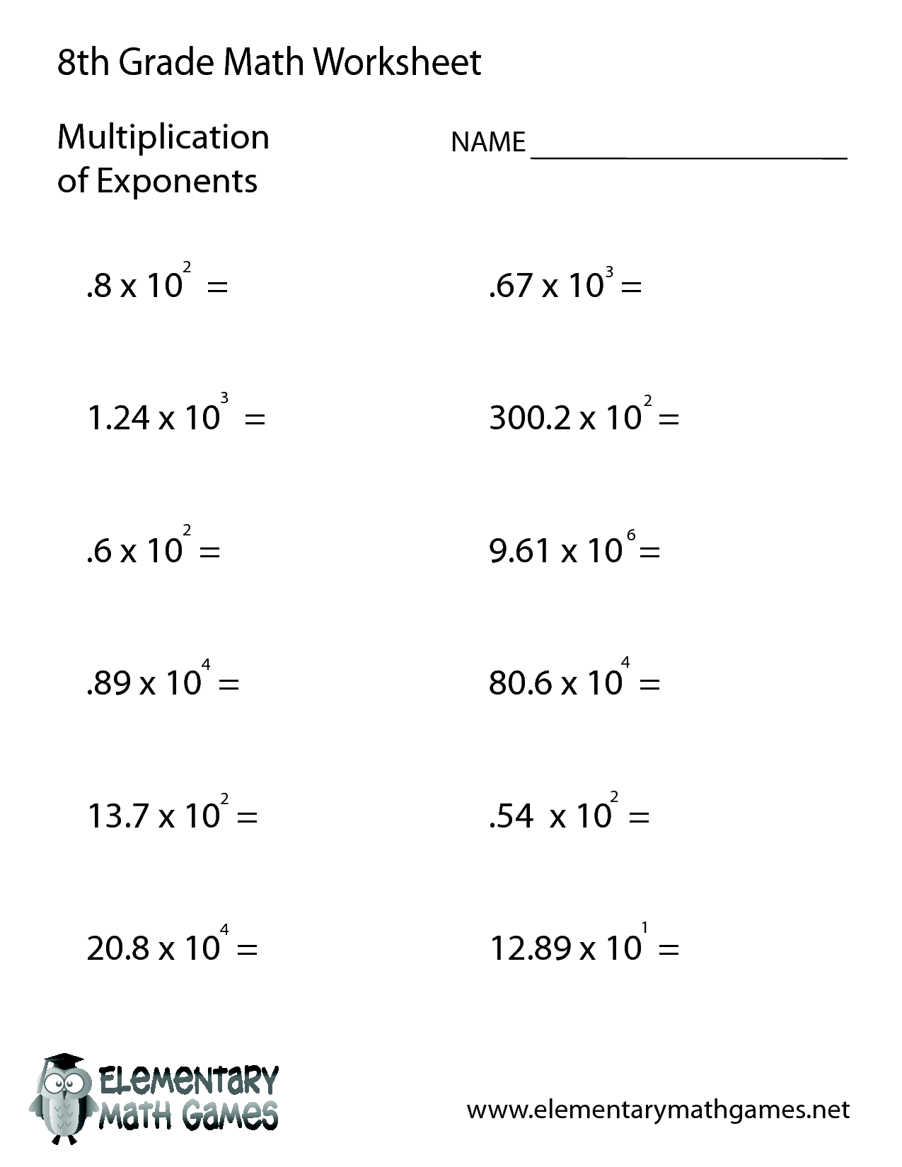 10 Best Images Of Linear Equations Worksheets 8th Grade