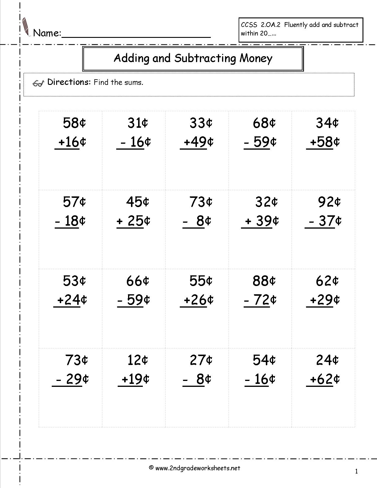 16 Best Images Of Math Adding Money Worksheets