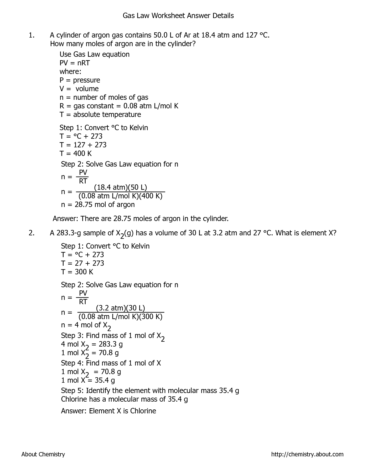 Chemistry Worksheet Category Page 2