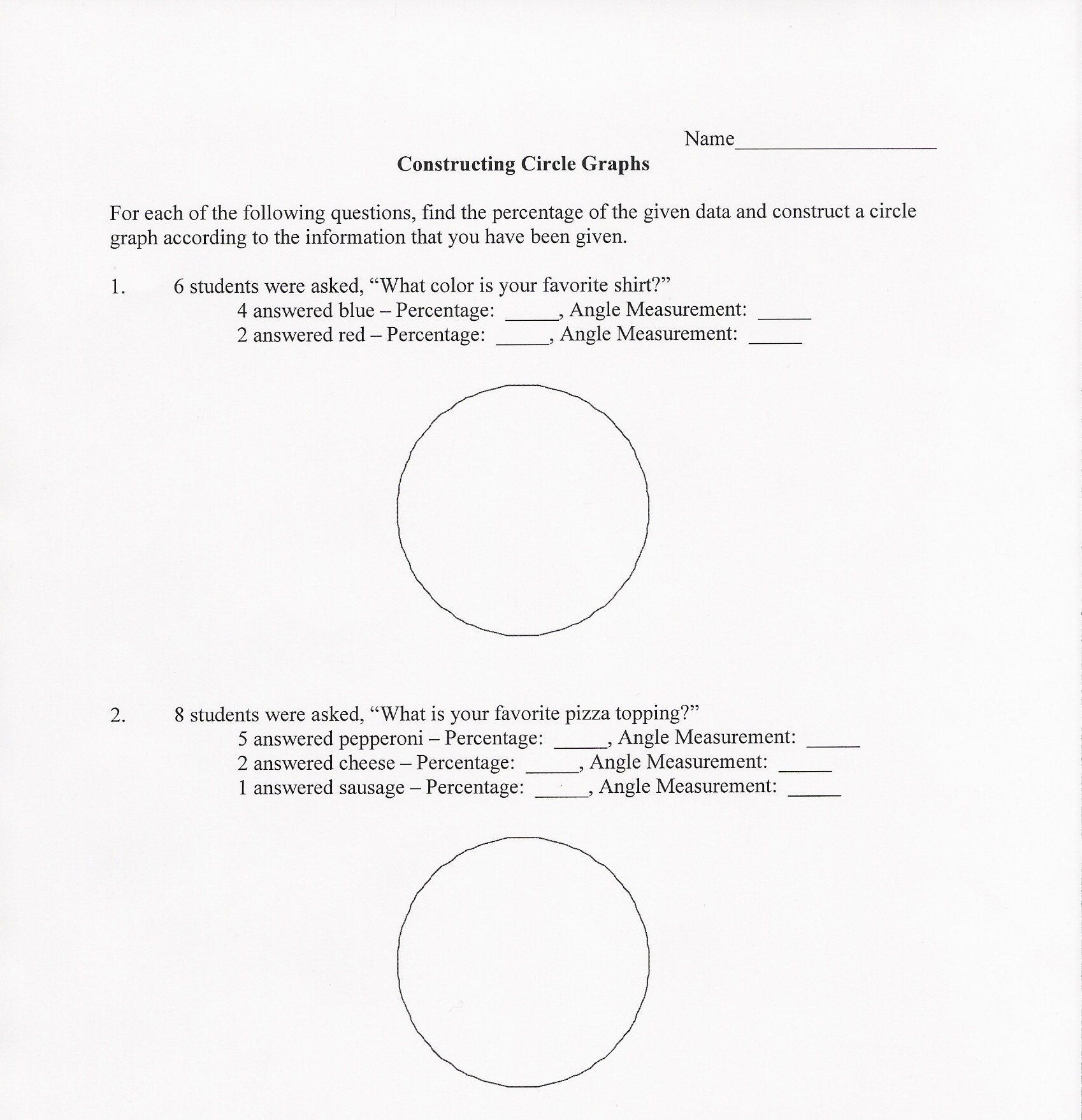 9 Best Images Of Circle Graph Worksheets For Middle School