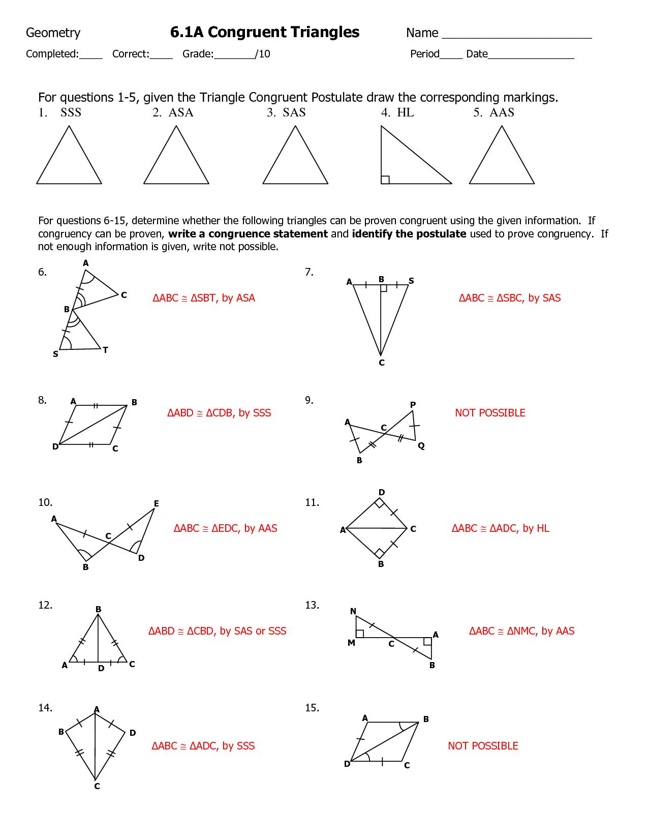 Geometry Sss Sas Asa Aas Worksheets