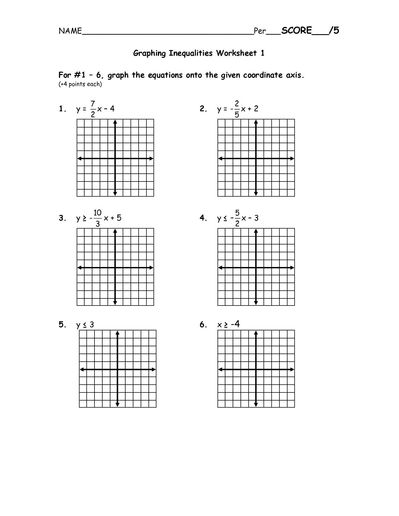 Solving Systems Of Linear And Quadratic Equations By Graphing Worksheet